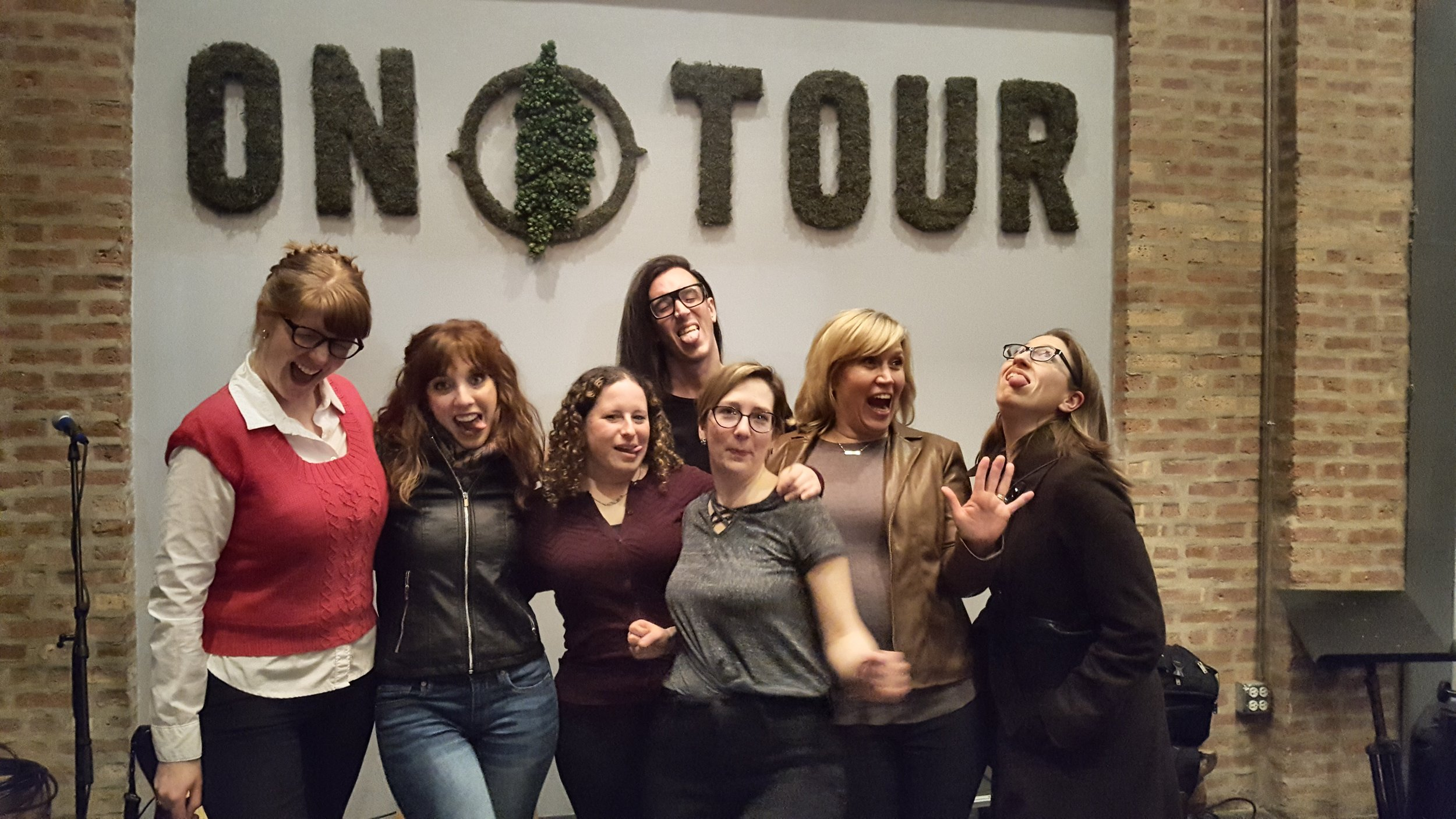 From left: Megan Grandstaff, Jackie Mantey, Jessica Katz, Wesley Fuentes, Christina Brandon, Elaine Quinn, Elisa Luth. (Not pictured: reader Mona Luan and guest co-host Mindy Watters).