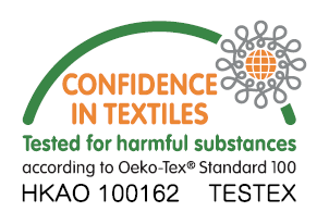 Oeko-Tex® Standard 100 - We are also an Oeko-Tex Standard 100 supplier,this certificate ensures our products meet health and safety standard and that no harmful chemicals or materials are present in our products.