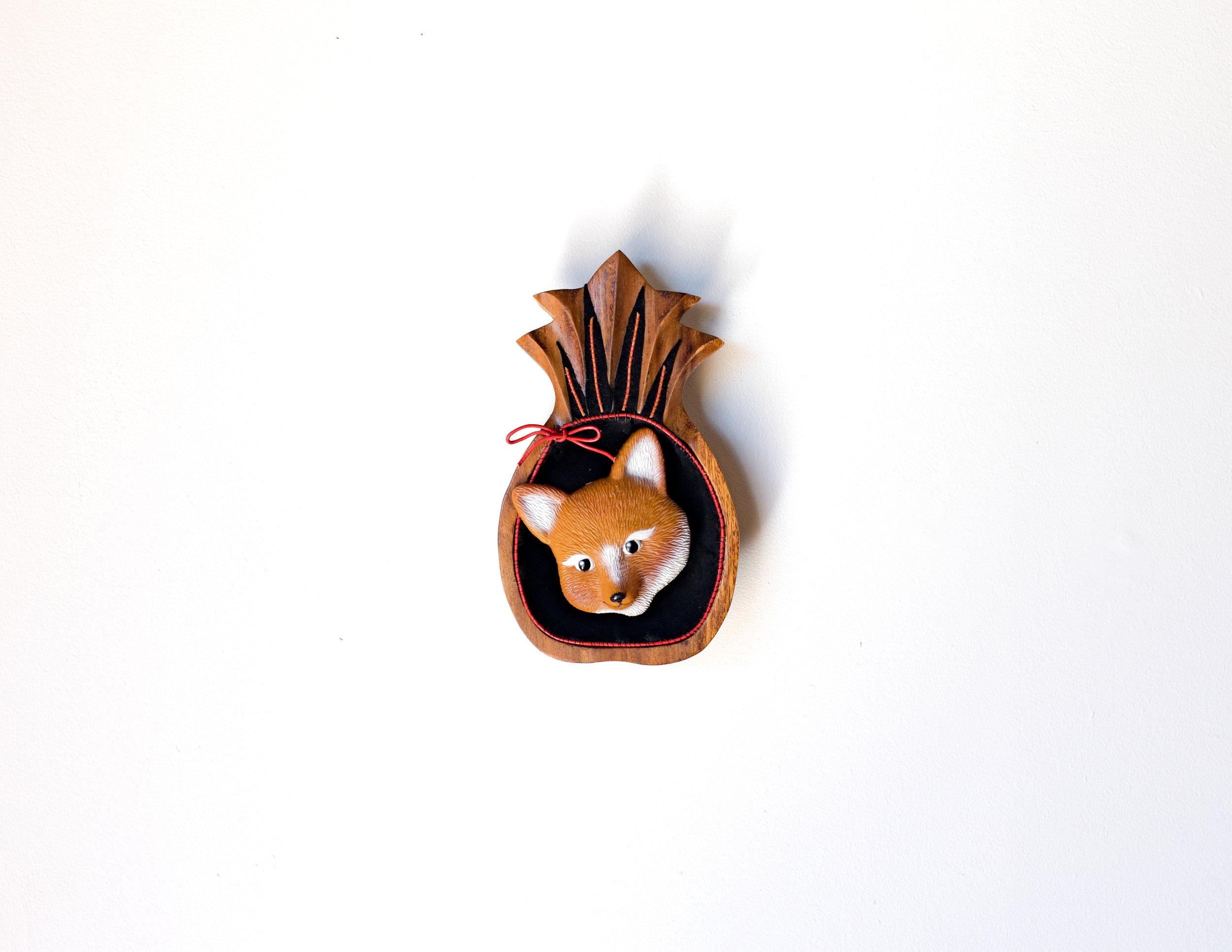 Beata Batorowicz _Pineapple Fox_ 2018, leather, suede, found object, leather thonging.jpg