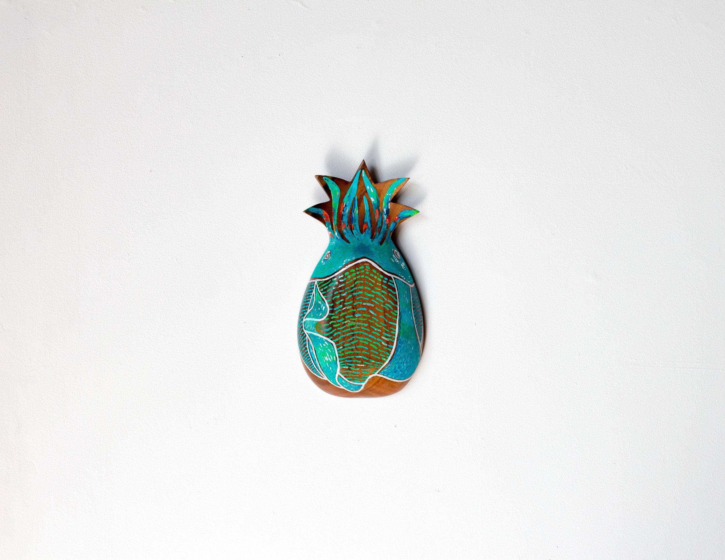 Cairns 12 - Francoise Lane 'PineAPPLESquid' 2018, acrylic & silver leaf guilding on wood.jpg