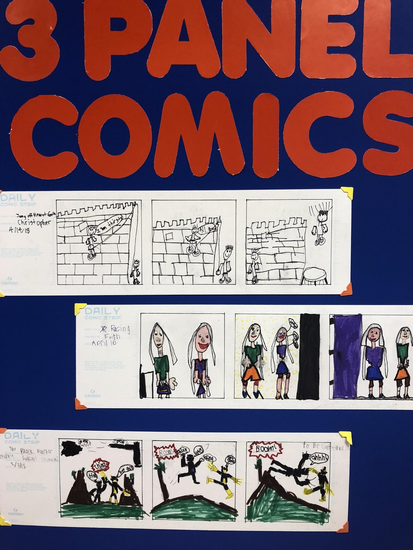 3-Panel One-Shot Comics.  Top: Chris, Middle: Faith, Bottom: Lukas