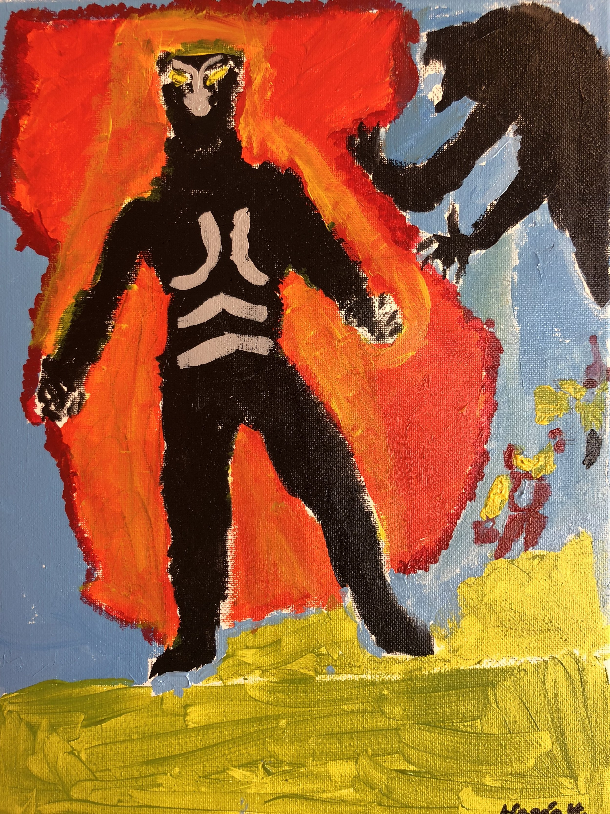 Black Panther and Monster in Acrylics  By Aragon