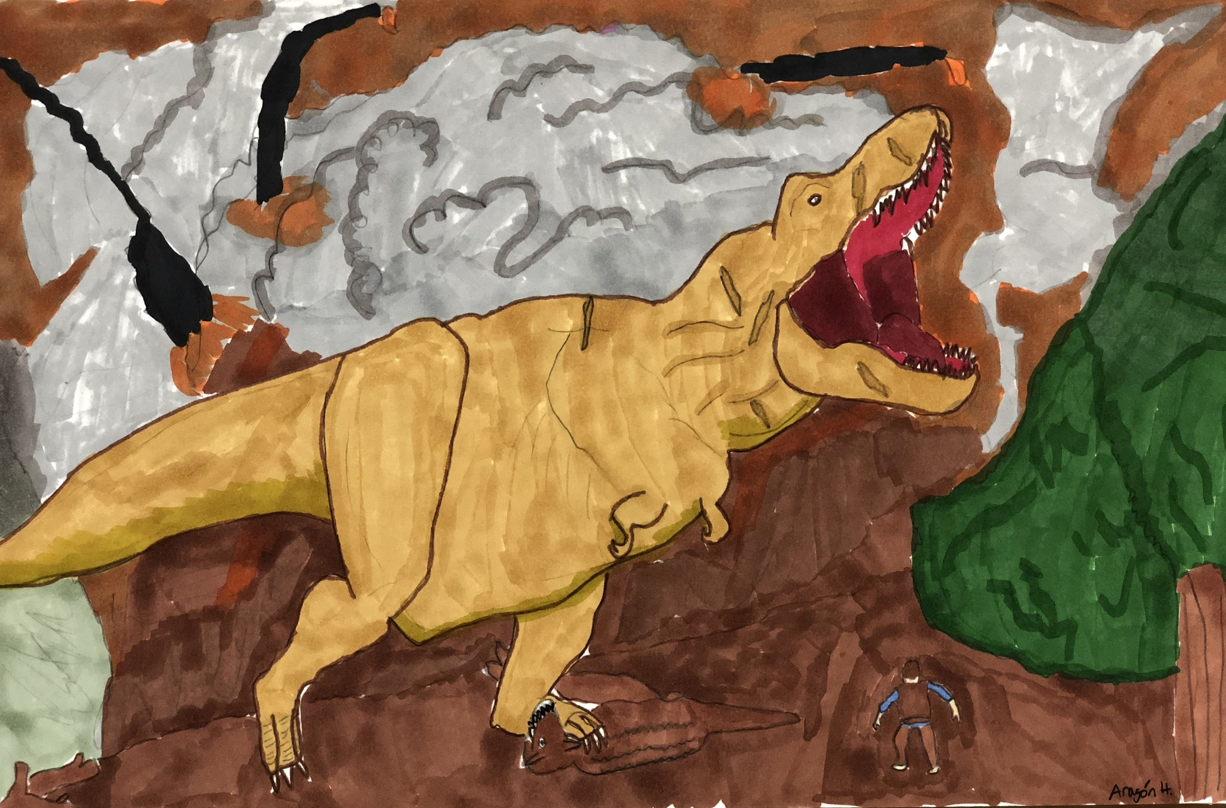 Jurrasic T-Rex in Color Markers  By Aragon