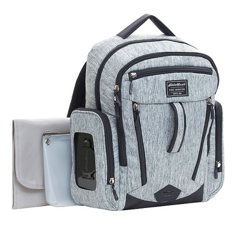 - And I have somehow managed to fit all of my needs into this Eddie Bauer Backpack diaper bag. I was gifted two diaper bags at my baby showers and I am just as excited to use this one for Ben as I am with the other. This one is a little more fashionable which I really like and again, SO many pockets!!!