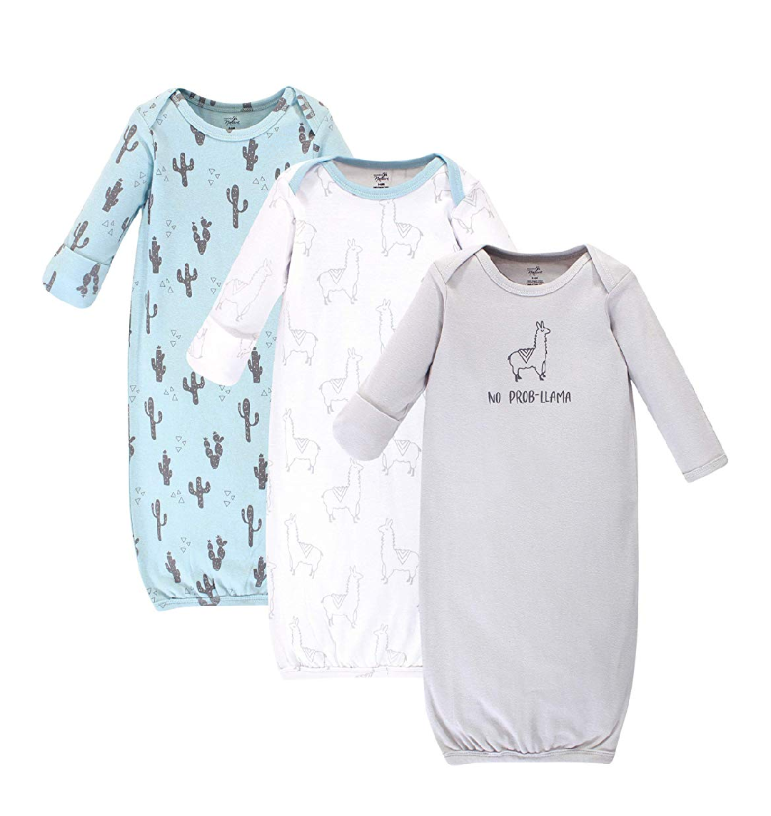 - Touched by Nature Unisex Baby Organic Cotton Gown 3-Piece Set