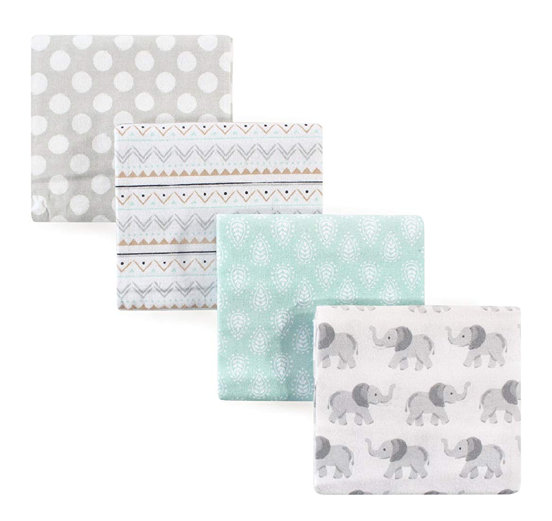 - Hudson Baby Unisex Baby Cotton Flannel Receiving Blankets 4-Pack