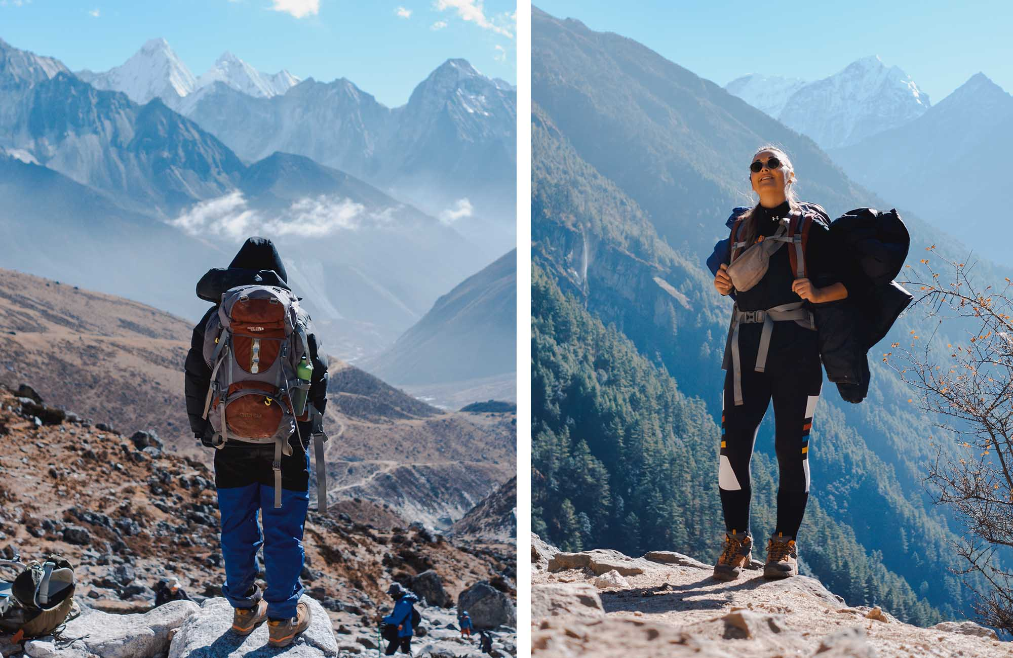 These backpacks fit all our clothes, gear, sleeping bags and accessories for the trek.