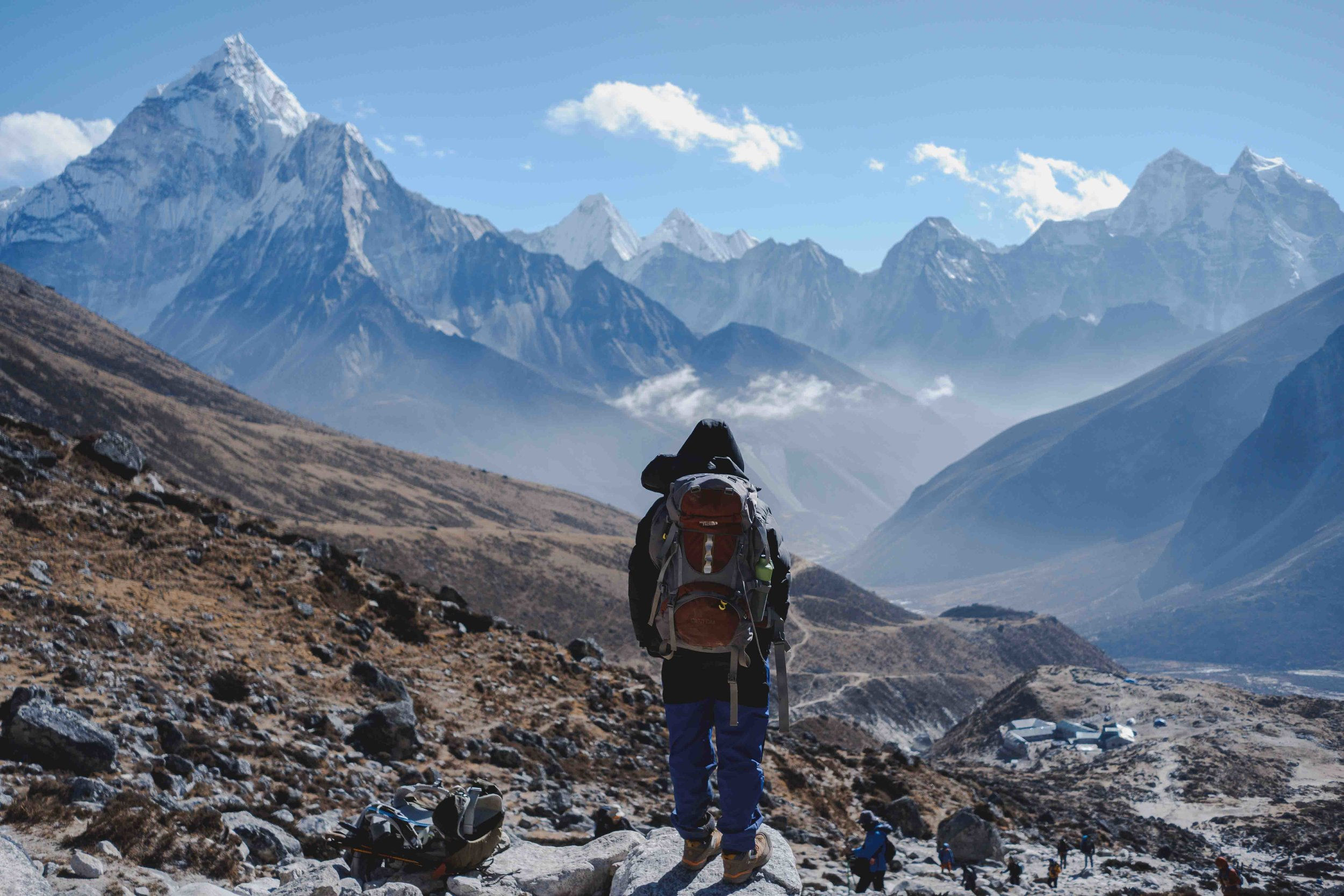 Anne standing just below Lobouche, Nepal on our 2018 trek to Everest Base Camp.