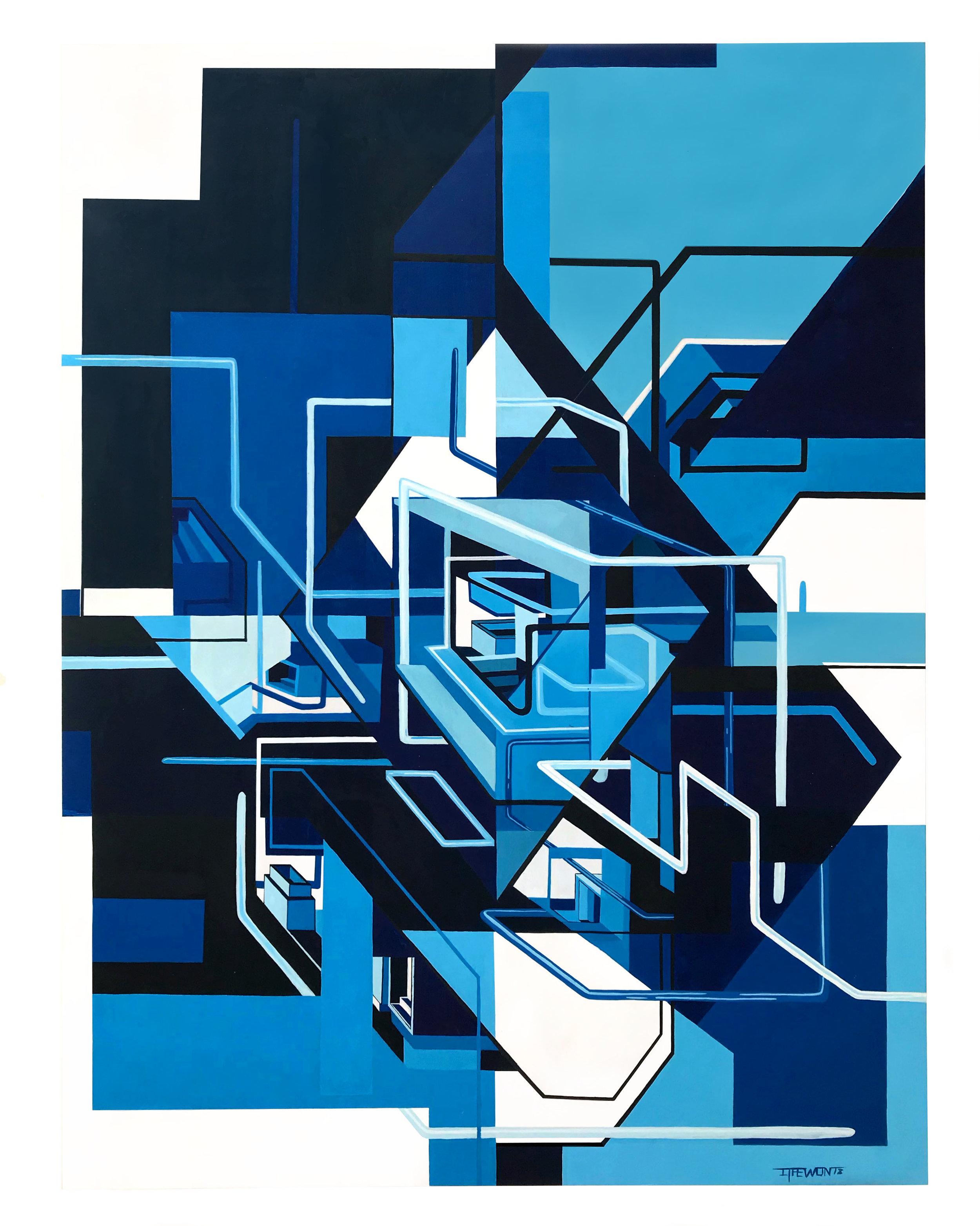 Blockade - 60cm x 80cm x 5cm - Acrylic on wood - 2018