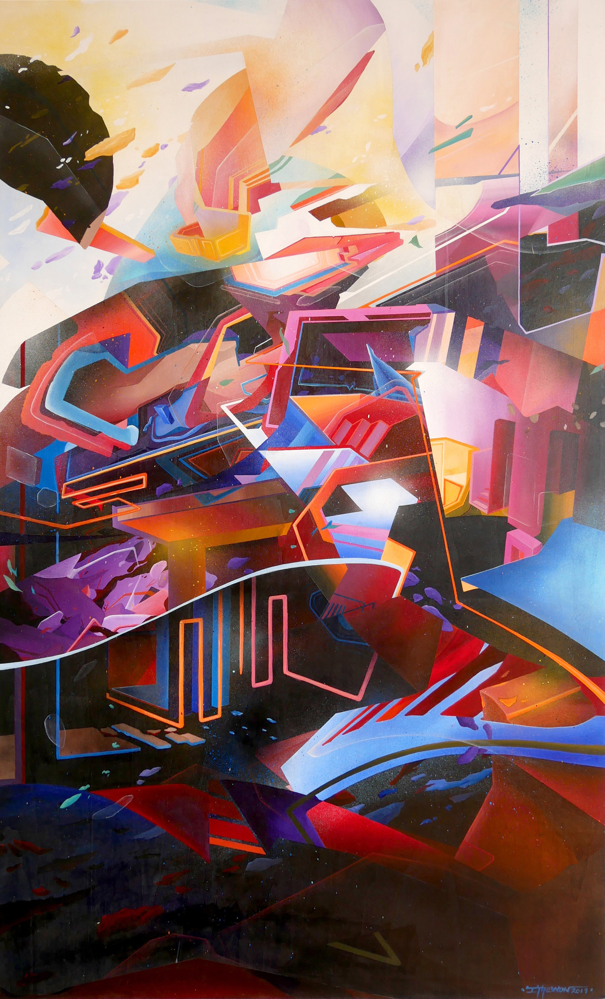 Epilogue 2 - 153cm x 90cm x 5cm - Acrylic and spray paint on wood  - 2019