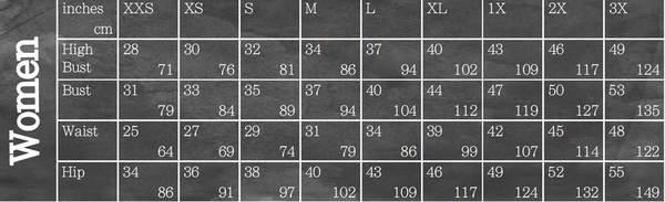 Size chart for the Blank Slate Skye Joggers