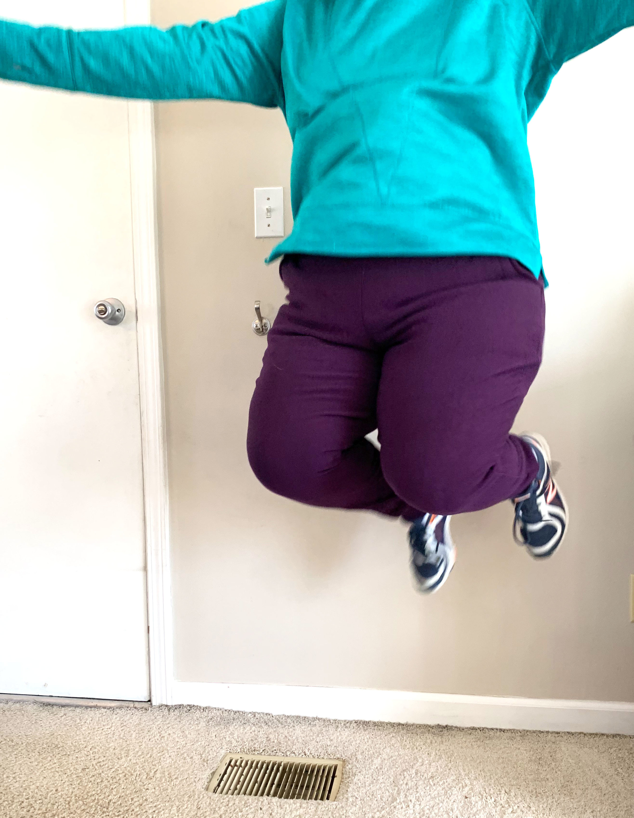 Should you be worried about being able to jump in these pants, have no fear. They are tested and approved for jumping!