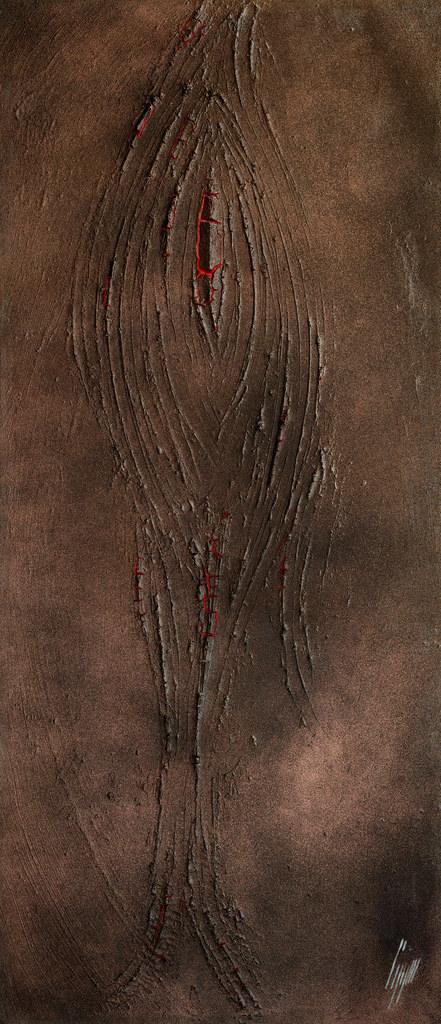 Chattier, 2014, technique mixte sur toile,120 x 60 cm..jpg