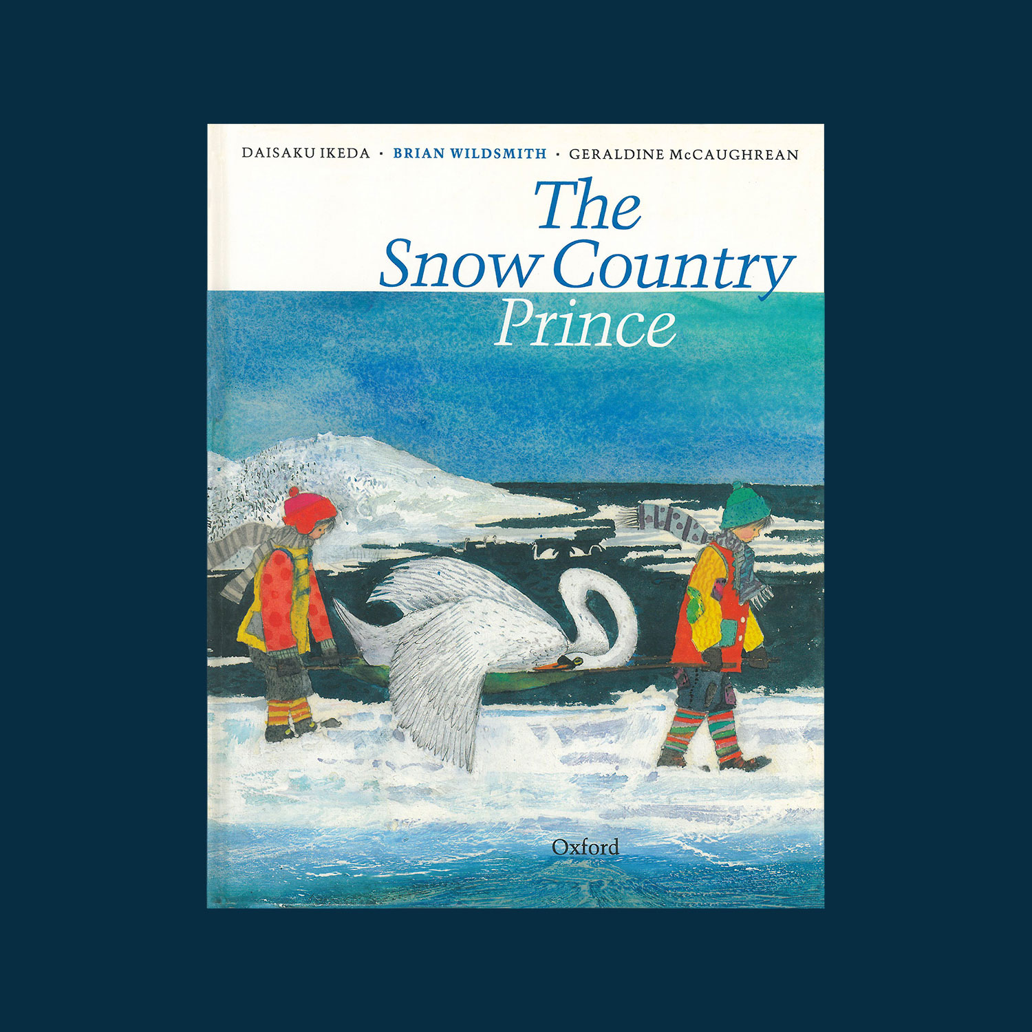 """THE SNOW COUNTRY PRINCE - Written by Daisaku Ikeda, translated into English by Geraldine McCaughrean, illustrated by Brian Wildsmith. 1990""""A gentle Japanese tale about two children who care for the birds, especially an injured swan, while their father is away for the winter fishing. The supernatural Snow Country Prince is grateful; perhaps he's responsible for bringing Papa home? Wildsmith's familiar, flamboyant art, his imaginatively observed creatures displayed against lovely impressionistic vistas, is handsomely showcased in this oversized volume.""""Kirkus Reviews"""
