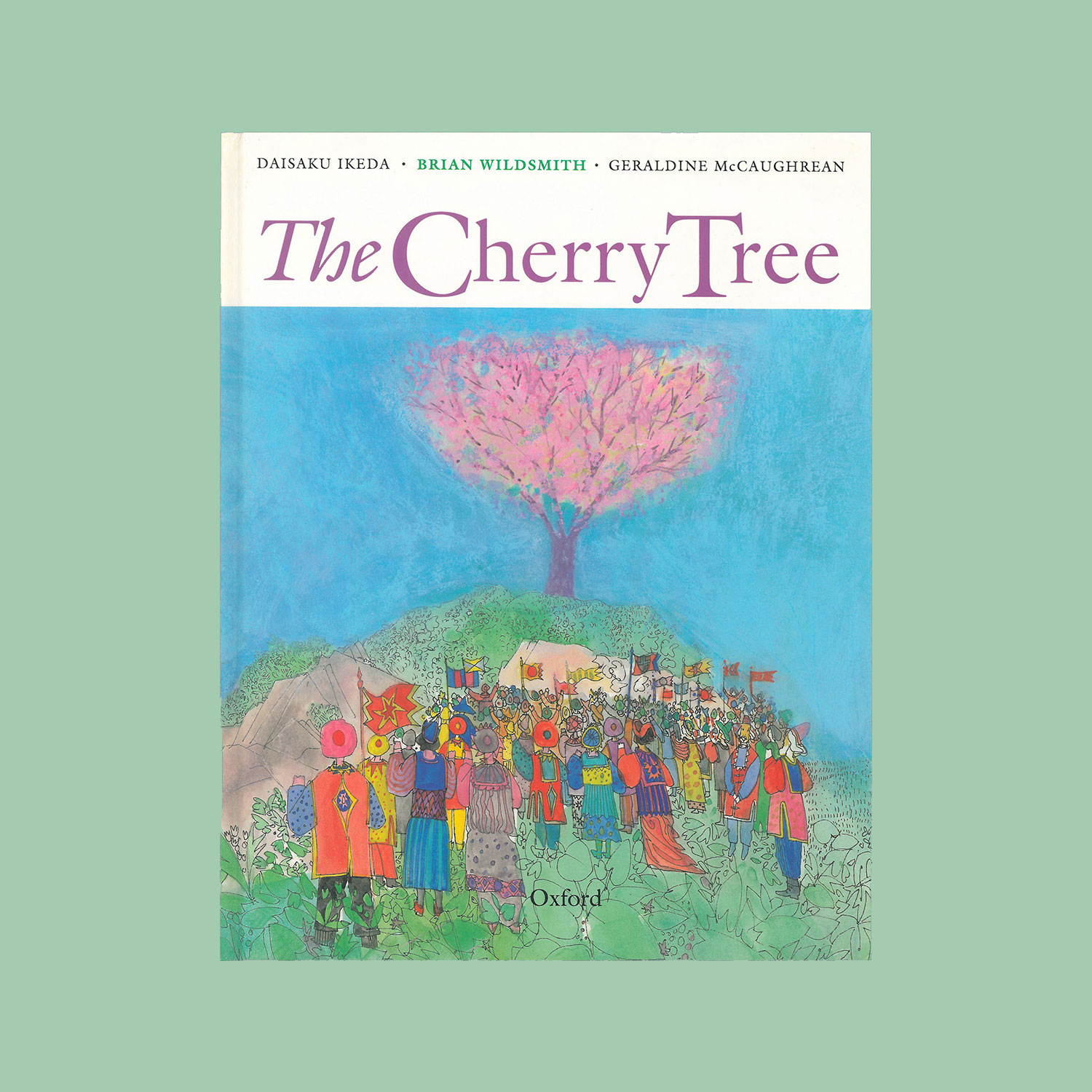 """THE CHERRY TREE - Written by Daisaku Ikeda, translated into English by Geraldine McCaughrean, illustrated by Brian Wildsmith. 1991""""Mourning their father, who died in a war that also left their home in ruins, Taichi and his sister Yumiko decide to help an old man who is wrapping a damaged cherry tree in straw mats as protection against the cold, in the hope that the tree will bloom… The story is minimal, but the images compelling… His colours are lush but tender, his stylised creatures beautifully integrated into the designs… his snow both decorative yet evocative, while the tree in full bloom radiates pure joy.""""Kirkus Reviews"""
