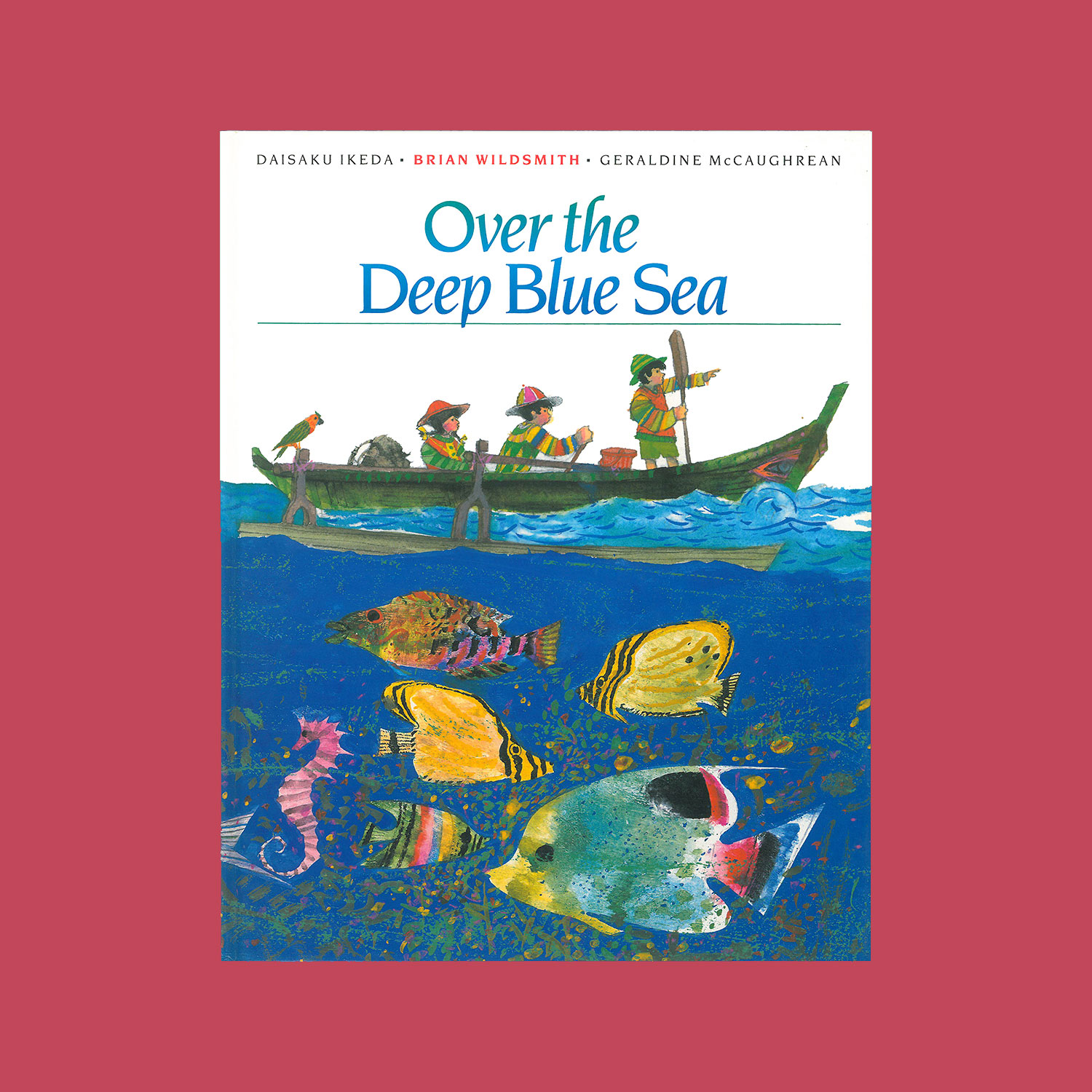 """OVER THE DEEP BLUE SEA - Written by Daisaku Ikeda, translated into English by Geraldine McCaughrean, illustrated by Brian Wildsmith. 1992""""Akiko and Hiroshi are lonely on the island to which their parent's work has brought them until they meet Pablo, who shows them the tropical world's entrancing secrets, teaches them paddle and outrigger canoe, and shares the delights of a coral reef… Wildsmith has outdone himself in splendid paintings of a lush tropical isle aglow between a richly luminous sky and a gloriously beautiful sea. It's good, too, to have the Japanese point of view on the lingering resentments born of WW2. A useful multicultural contribution that's a joy to behold.""""Kirkus Reviews"""
