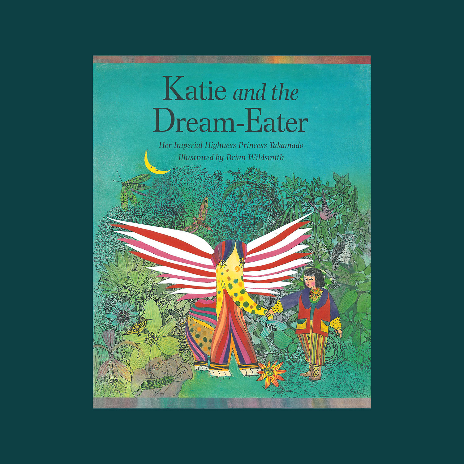 """KATIE AND THE DREAM-EATER - Written by Her Imperial Highness Princess Takamodo, illustrated by Brian Wildsmith. 1996""""Far away, beyond the rainbow and above the clouds, there is a magic land where unicorns and dragons live. Here too live the baku, shy creatures that eat up bad dreams. This is the story of a little dream-eater who went out to help a girl called Katie. He fought off all her terrible dream monsters and ate up her bad dreams until he was caught on the wrong side of her dream. What was Katie to do with him?""""""""…Wildsmiths watercolours and paintings, ripe with Asian motives and saturated in an array of vibrant colours, depict a fanciful landscape that youngsters will love to explore…""""Publishers Weekly"""