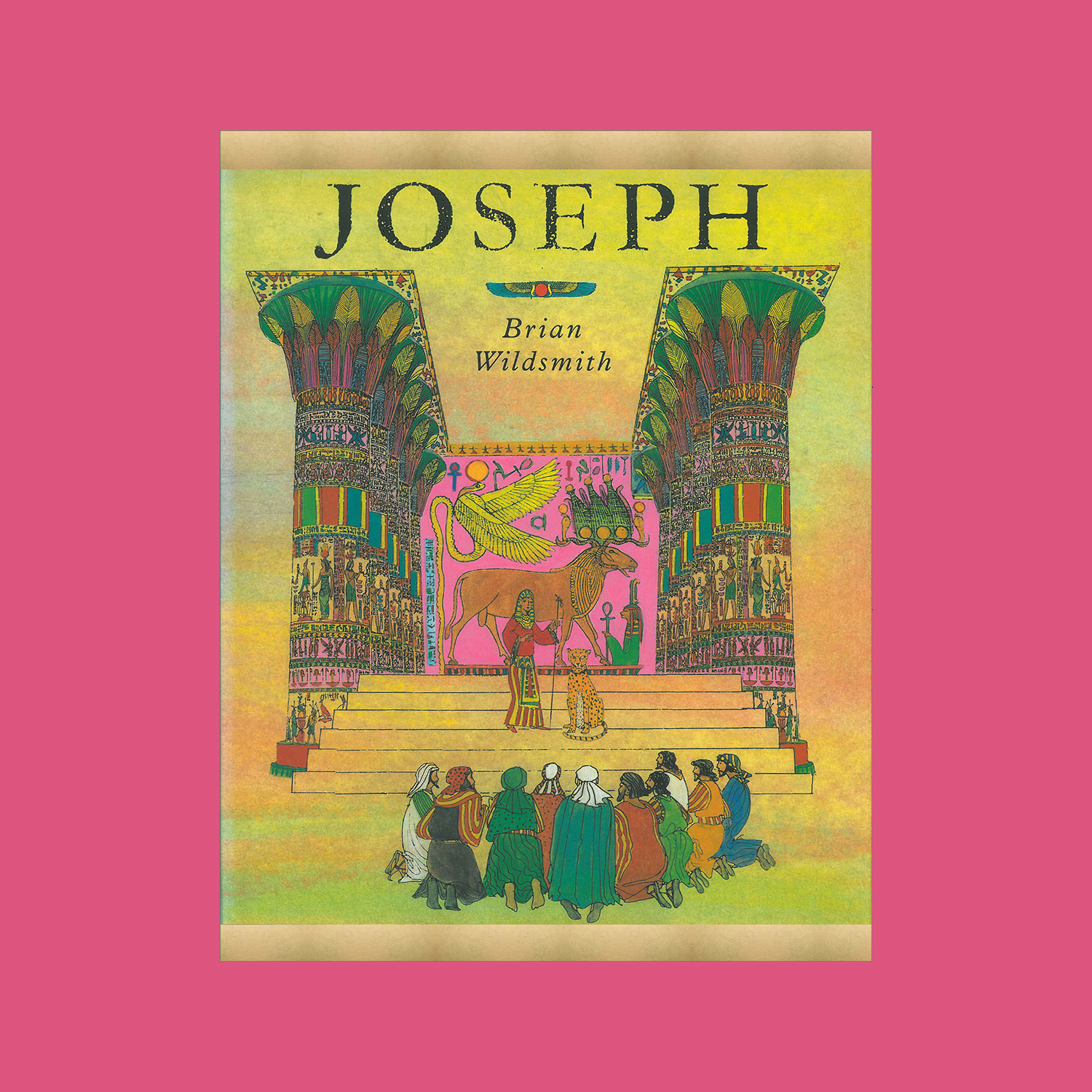 """JOSEPH - 1996""""A retelling of the Old Testament story of Joseph whose jealous brothers sold him as a slave into Egypt. Wildsmith's ink and colour artwork has never seemed more polished, his colourings more carefully shaded… he slao uses the Egyptian setting of Pharaoh's court to beautiful effect, making it come alive with pyramids, hieroglyphic-encrusted walls and spires climbing to the sky. The gilt edging of the pages also gives the book the glow of majesty…""""Ileen Cooper, Booklist""""Perhaps the most beautifully illustrated of this year's picture books is Joseph...It is enriched by spectacular pictures of Egypt.""""The Spectator"""