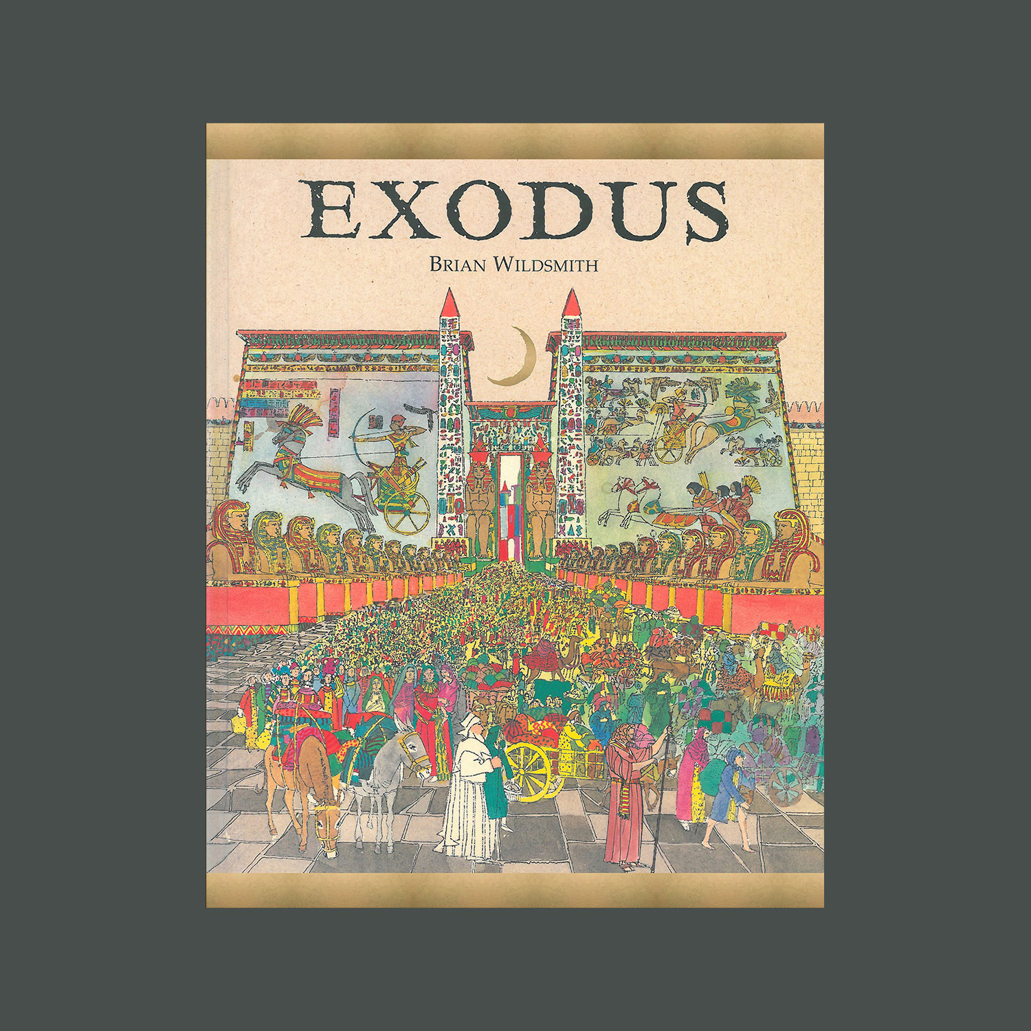 """EXODUS - 1998. Reprinted as Moses""""This award winning book by Brian Wildsmith is the story of how one man led his people out of slavery to a land that God had promised to give them. His name was Moses. With vivid, richly detailed illustrations Wildsmith captures all the major events of one of the greatest stories in the Bible. The story of the Exodus and the rescue of the Hebrews comes alive against stunning backdrops from the great palaces of ancient Egypt to the vast expanses of Sinai's mountains and wilderness.""""""""…Filled with meticulous and decorative detail, glowing with rich colours and arranged to maximise dramatic impact, the paintings show the awesome events with excitement and beauty.""""School Library Journal"""