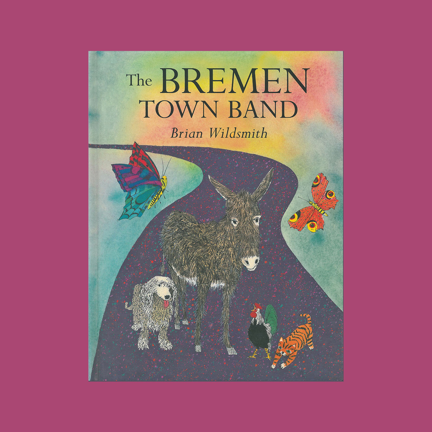 """THE BREMEN TOWN BAND - 1999. Republished as The Bremen Town Musicians in 2012""""This is the story of how a donkey, a dog, a cat and a cockerel all met one fine day. They quickly became friends deciding it would be fun to go and join the Bremen Town Band. Off they went down the highway, singing and joking together. On the way they passed through a forest where the most incredible adventure awaited them.""""""""This is a gorgeous picture book. The vividly colourful and highly detailed illustrations are a delight…""""Dolores Klinsky Walker"""
