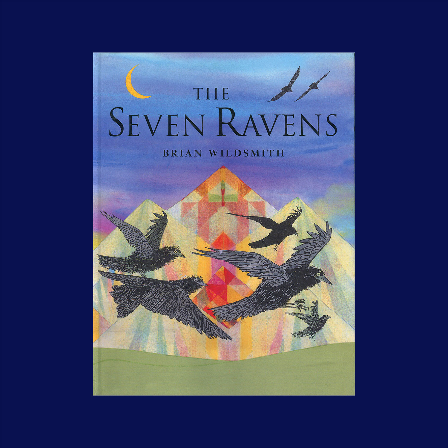 """THE SEVEN RAVENS - 2000""""The seven ravens are seven brothers transformed into birds by their fathers impetuous curse after they had neglected their baby sister. When Anna grows up, she sets off on a great quest to free the boys from enchantment. A voyage depicted in a deeply enjoyable blend of kaleidoscopic colour-play and careful, detailed drawings. Very highly recommended for shared and individual reading.""""Books for Keeps"""