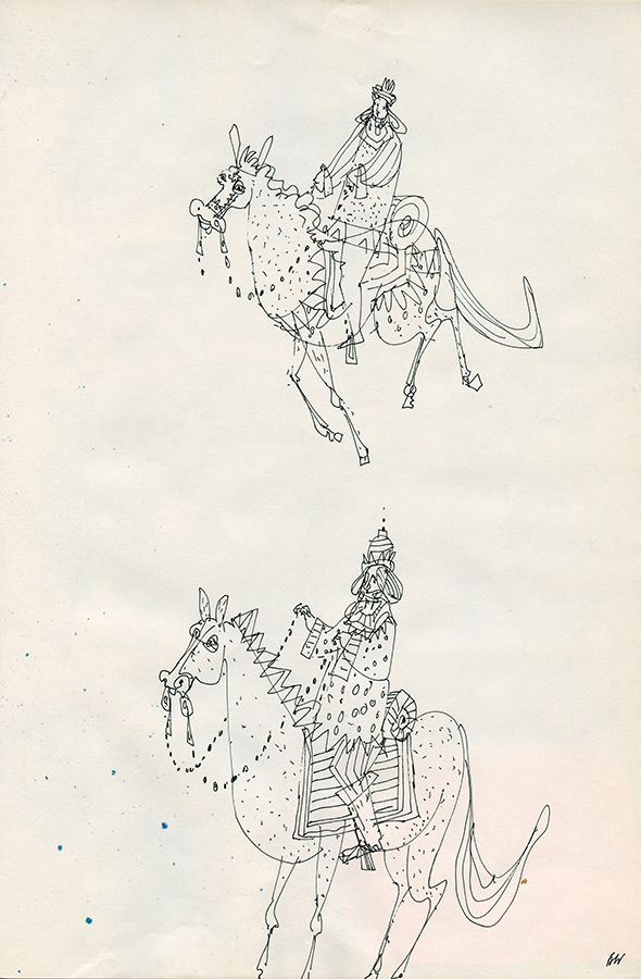 Equestrian portraits Brian drew in Simon's sketchbook.