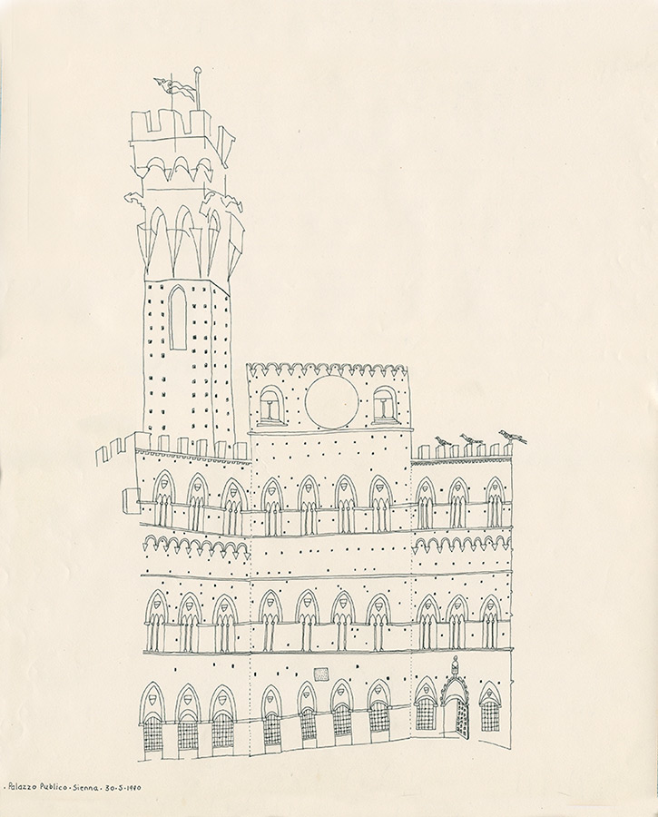 Simon's drawing of the Palazzo Publico with 3 of Brian's birds perched on the parapet.