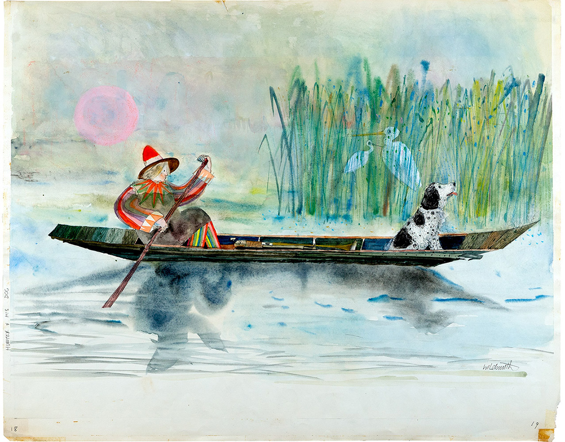 Hunter-and-dog-in-rowing-boat-illustration-illustration-from-hunter-and-his-dog-Brian-Wildsmith.jpg