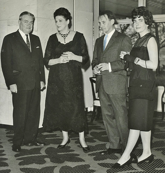 Frank and Helen Watts with Aurélie and Brian at a party in his honour they threw at The Savoy Hotel in London in the late 60s.