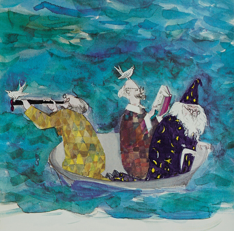 Three wise men of Gotham  Went to sea in a bowl; And if the bowl had been stronger, My tale had been longer. from   MOTHER GOOSE 1964