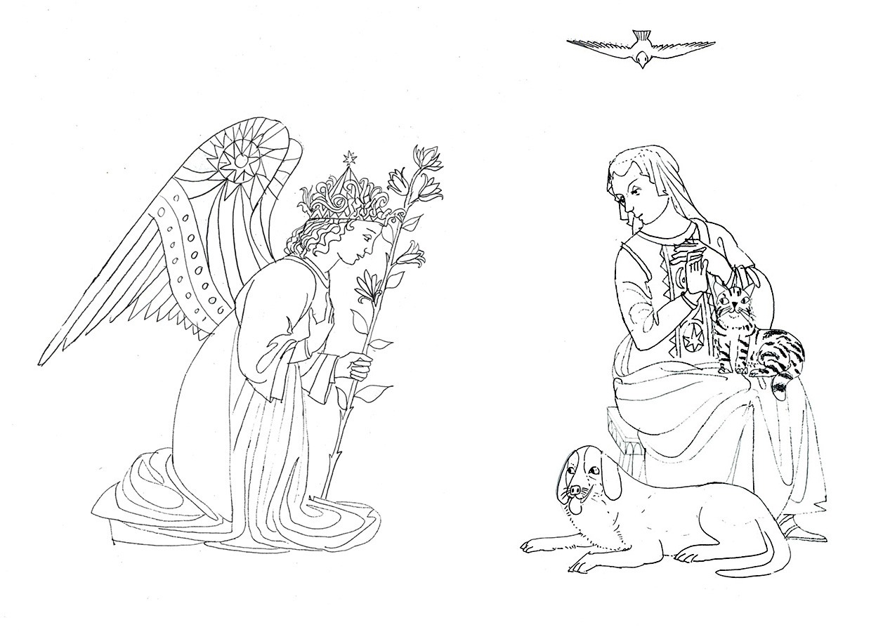 Preliminary drawing from Mary, the book Brian would write and illustrate published in 2002.