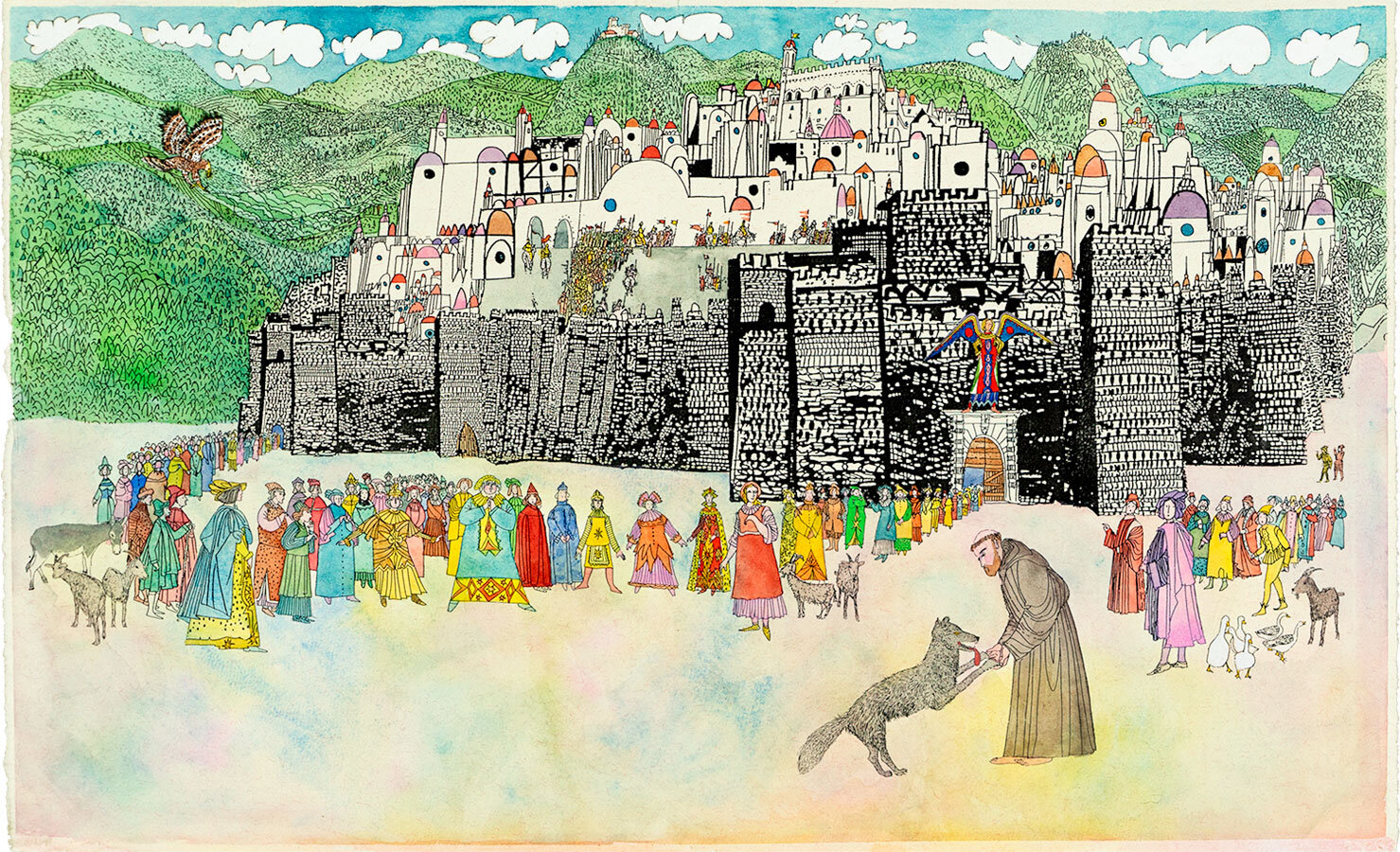 Francis-tames-brother-wolf-in-Gubbio-Italy-original-illustration-from-Saint-Francis-by-Brian-Wildsmith.jpg