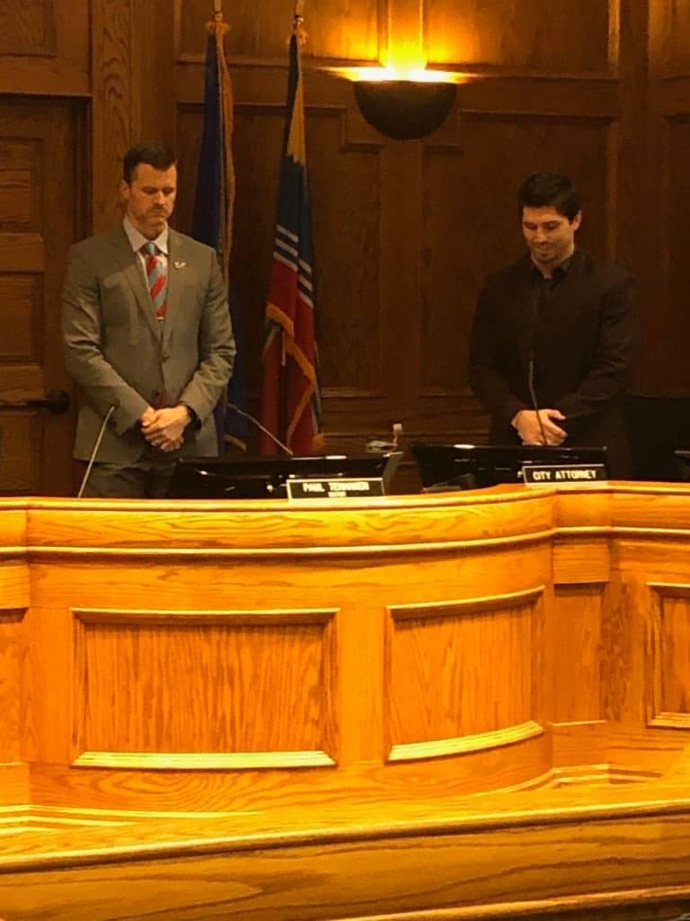 Josh Brewer and Mayor Paul TenHanken during the Invocation.