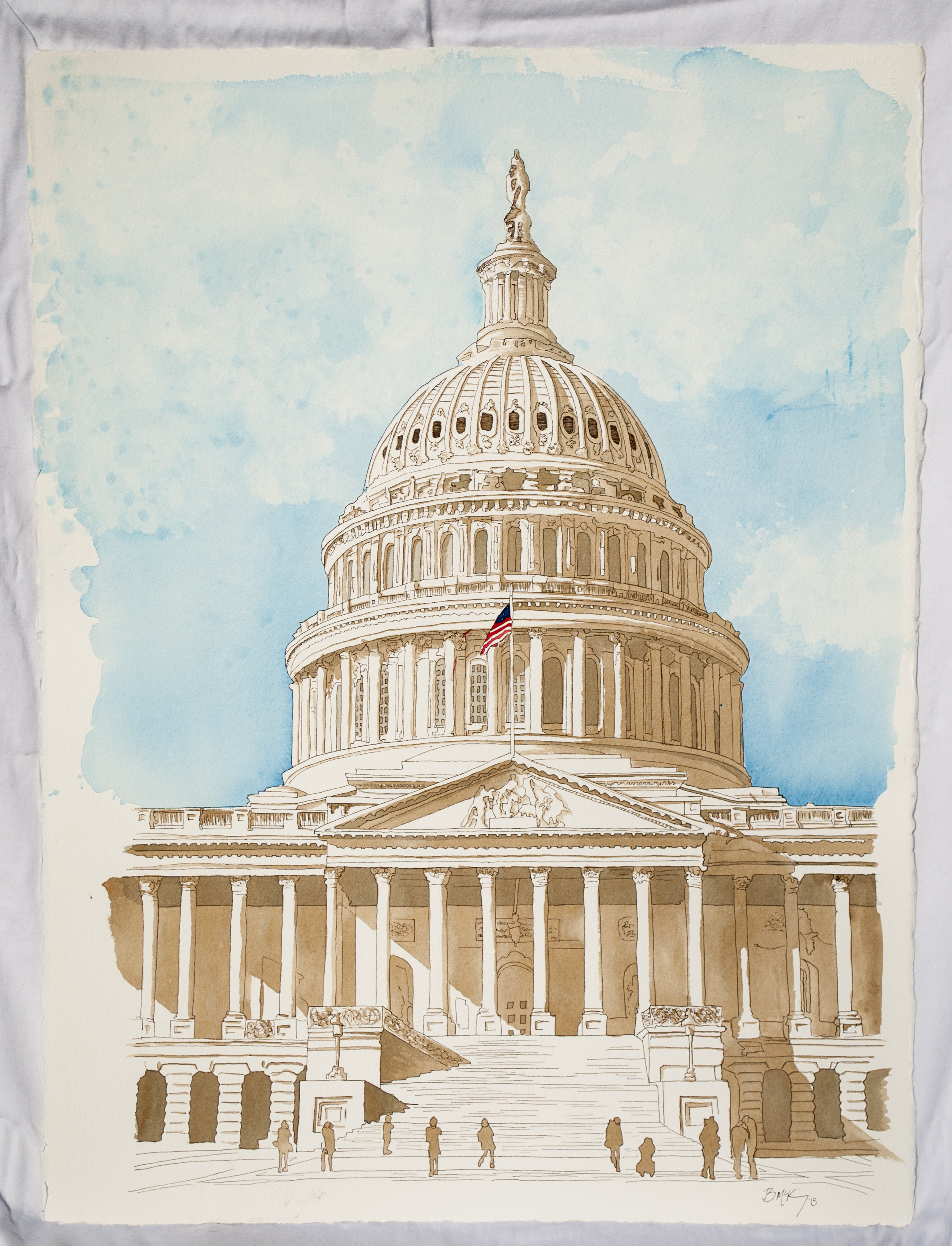 DC Capital Dome, Watercolor and Ink on 300 lb, 22x30 Inches, 2015,
