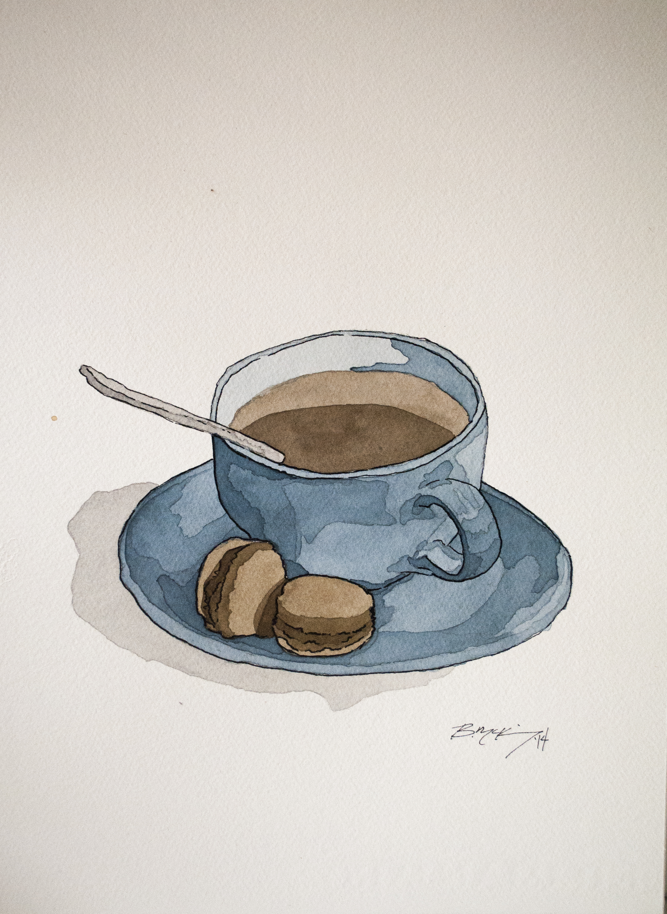 Coffee and Macaroons, Watercolor and Pen on 300lb 11x15 inches, NFS
