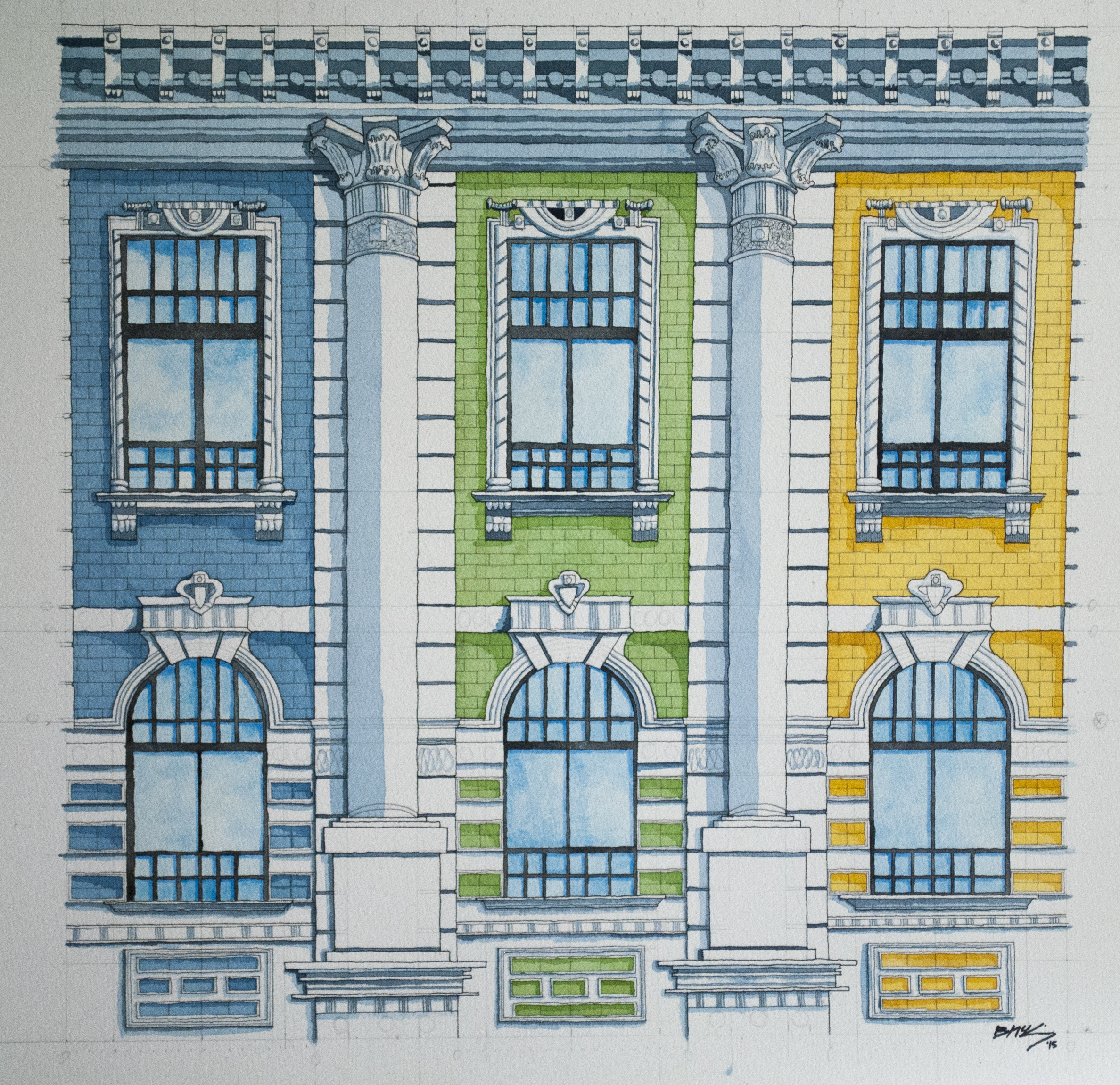 French Facade, Watercolor on 300lb, 22x30 inches, 2015