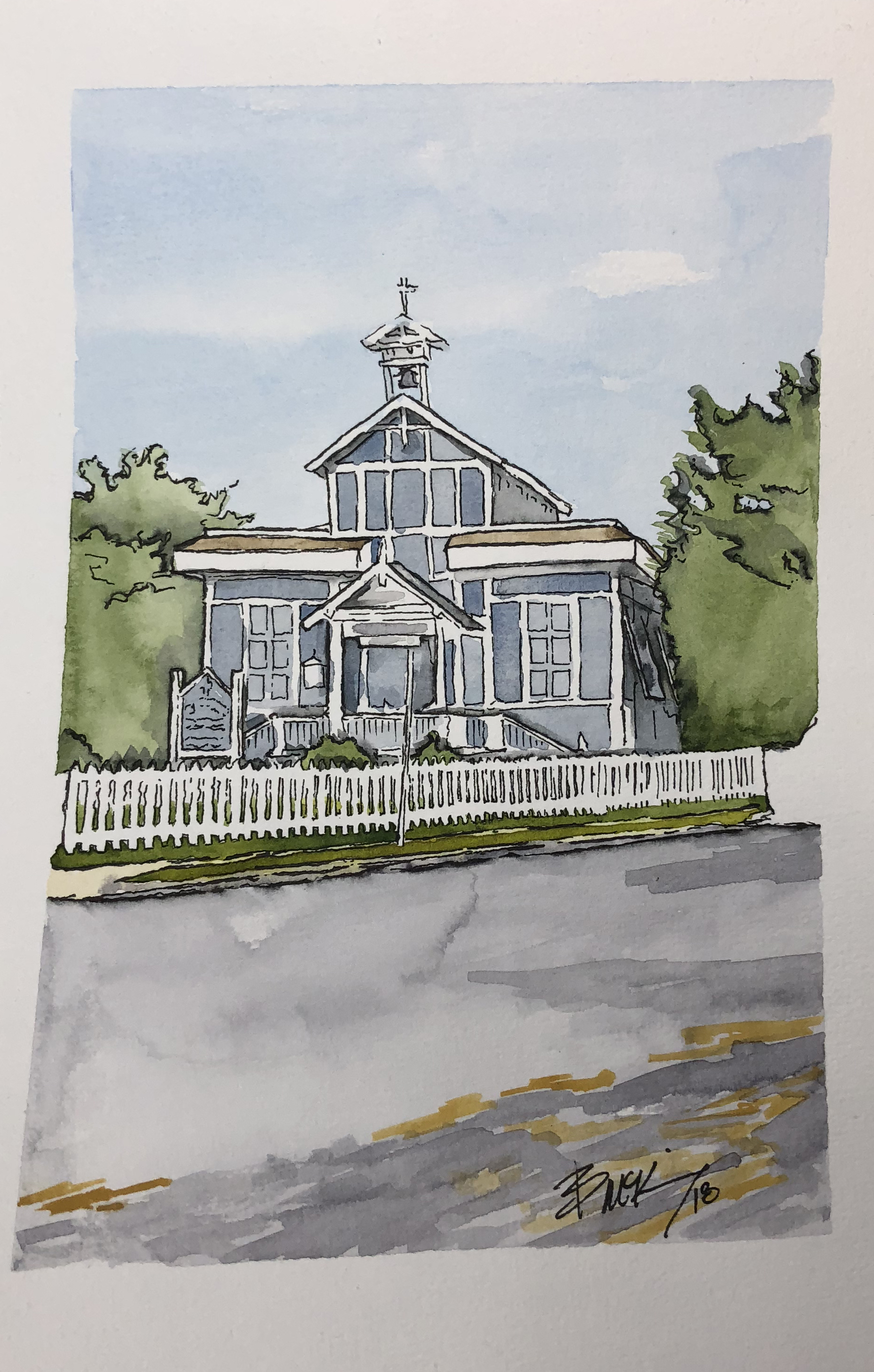Lady by the Sea, Cape May Point 6x9 inches, Aug 2018