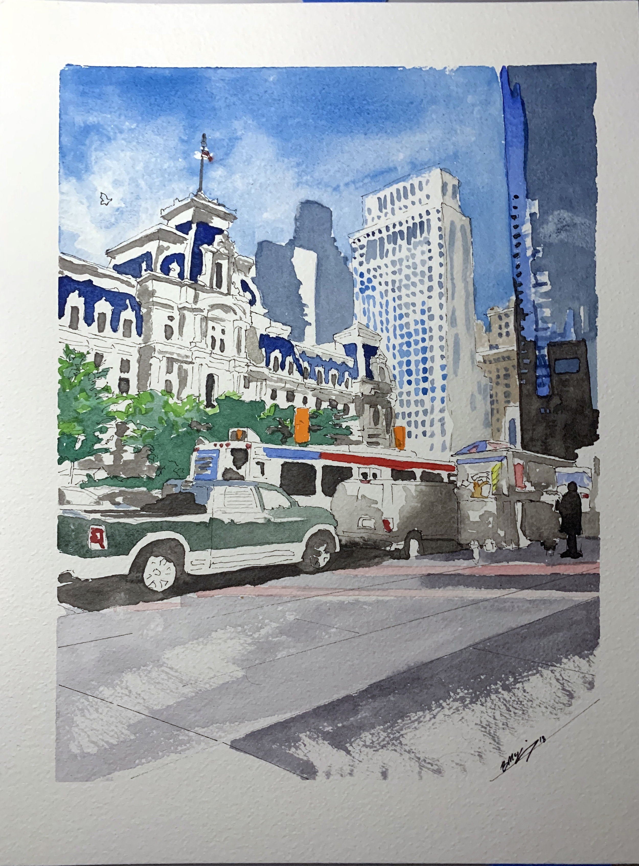 Septa and City Hall, 9x12 inches, watercolor, ink wash and pen on 140lb, Feb 2019