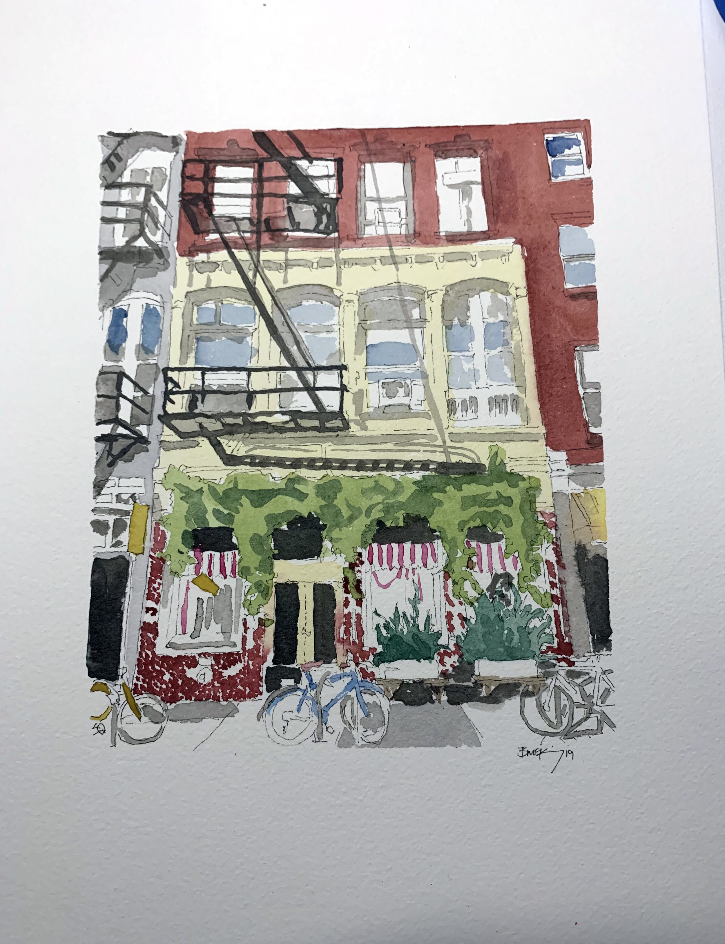 Store front Fishtown, 9x12 inches, watercolor, ink wash and pen on 140lb, Feb 2019