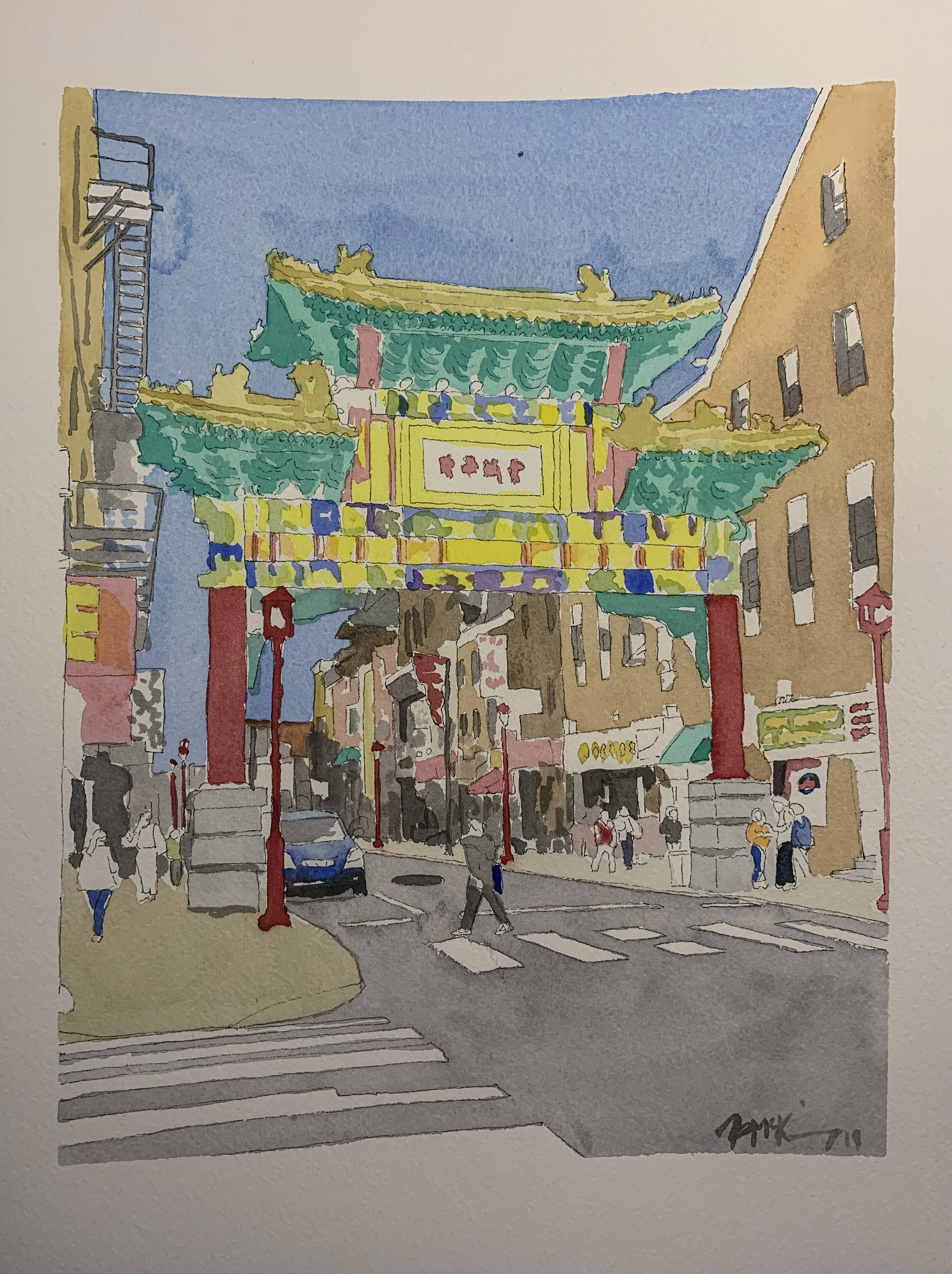 Chinatown Gate on Arch St, 9x12 inches, watercolor, ink wash and pen on 140lb, Feb 2019