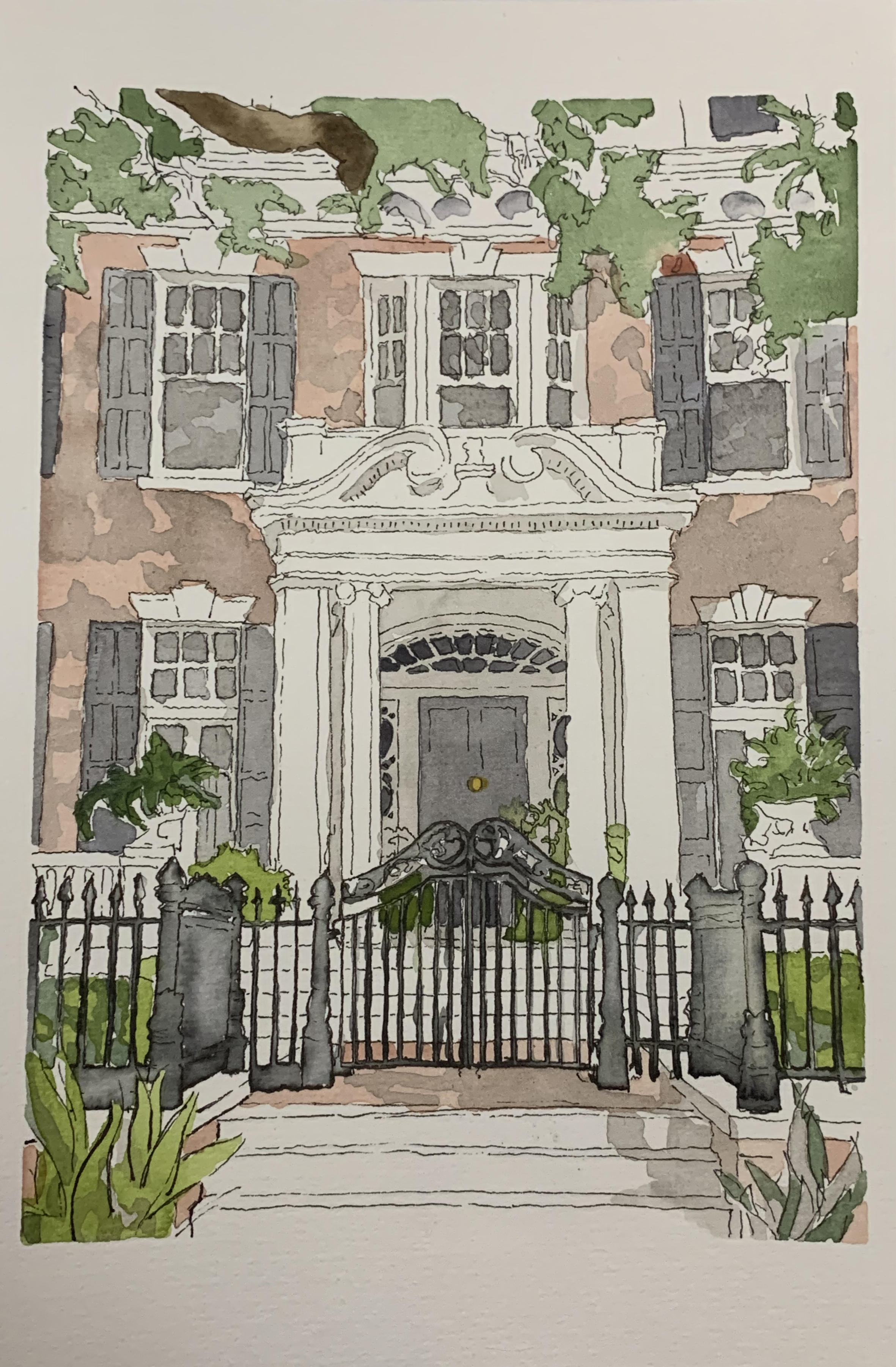 Rittenhouse, 6x9 inches, watercolor, ink wash and pen on 140lb, Feb 2019