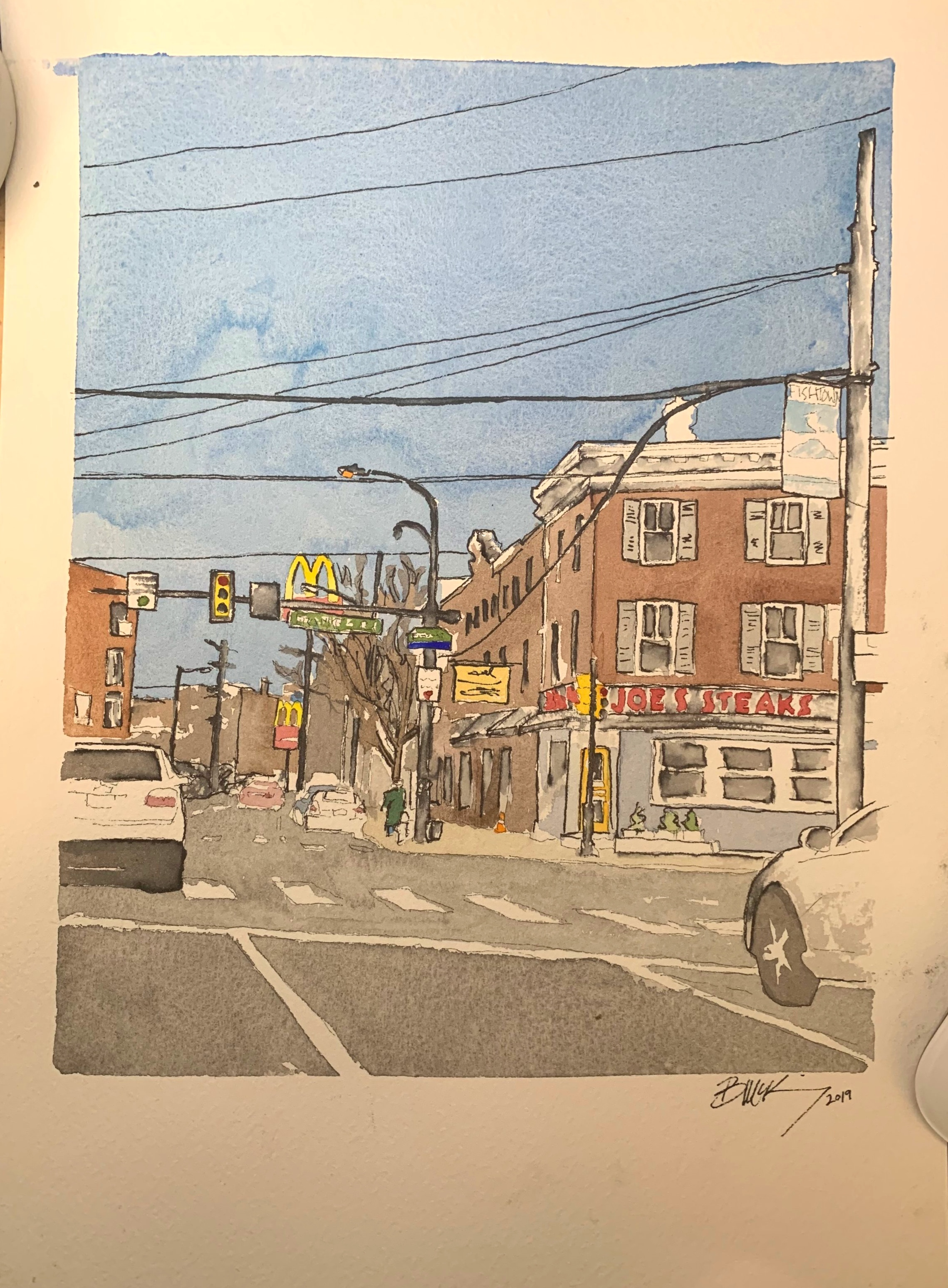 Girard and Frankford, 9x12 inches, Watercolor and Pen on 140lb. March 2019