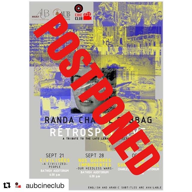 Sorry for the mixed information! These screenings will happen but It has to be postponed, stay tuned for the coming dates! 🎬 #Repost @aubcineclub (@get_repost) ・・・ Hello all, Since registration hasn't been up yet we are forced to postpone our event. More details will be given as soon as we find out when the screenings will be made possible. Stay tuned!  #aubclubs #cineclub #cinephile #lebanese #arabmedia #arabfilm #cinematography #event #americanuniversityofbeirut #randachahalsabbag