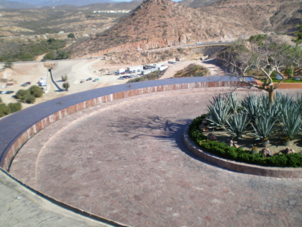 Figure 3: The circular drive and adjacent water feature were over occupied space.