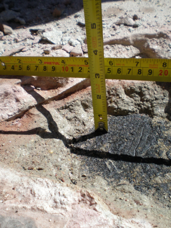Figure 4: Mortar-set pavers were installed directly over waterproofing, with no protection course or drain mat.