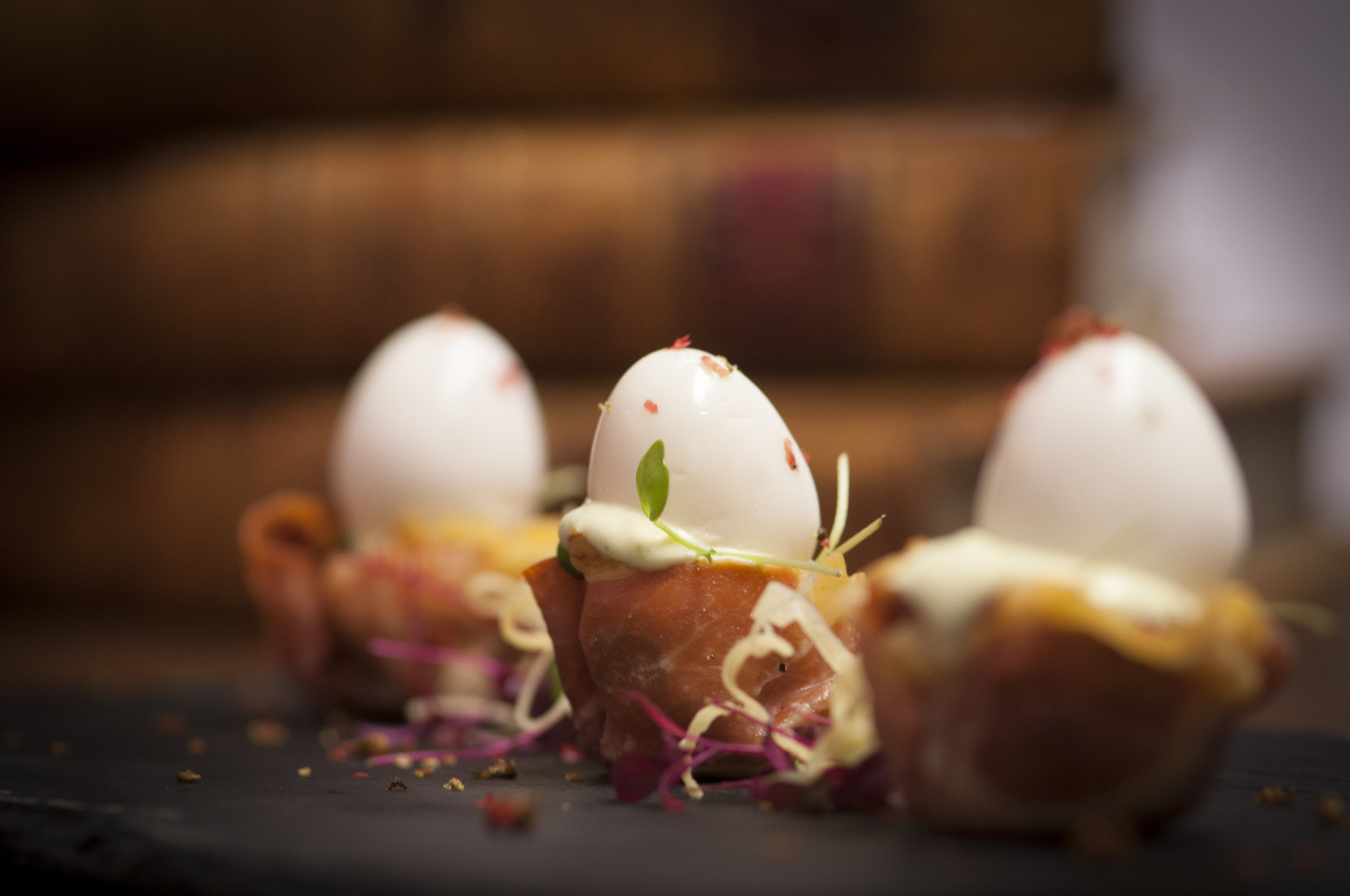 PARMA HAM AND QUAIL EGG CUPS