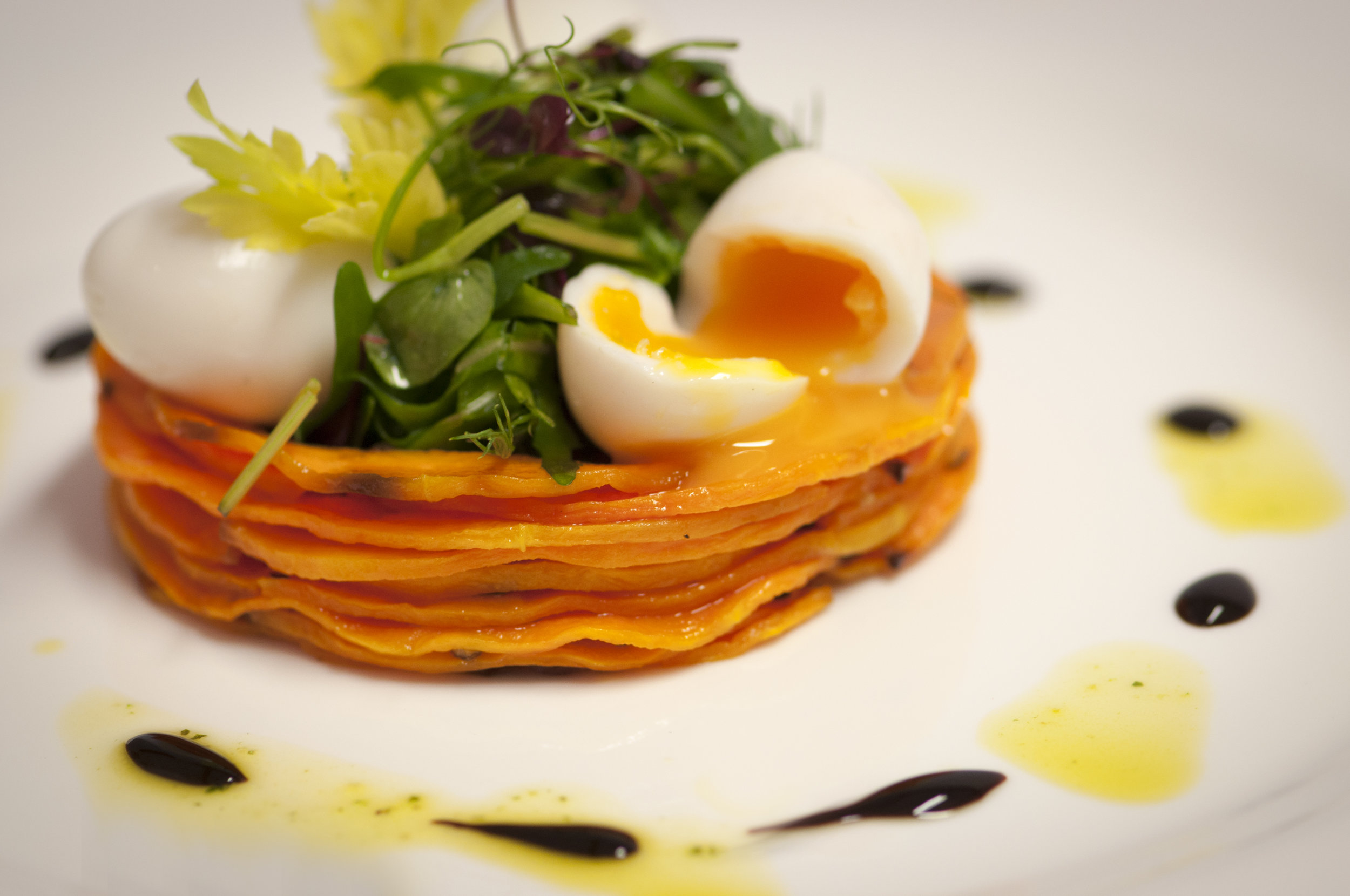 BUTTERNUT SQUASH STACK WITH QUAIL EGGS