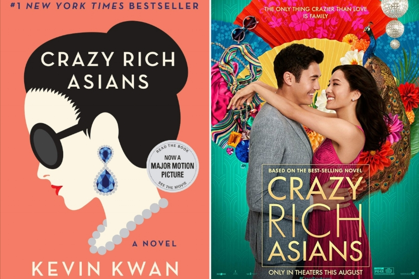 Crazy Rich Asians movie poster (right) and the book by author Kevin Kwan that inspired it all (left)