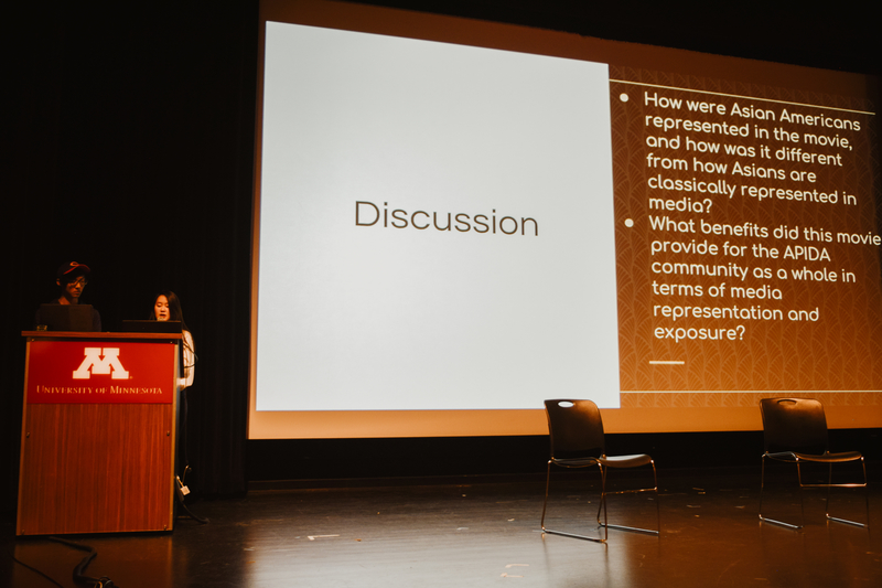 William Wang (left) and Jenny Tam (right) presenting discussion questions for the audience at ASUxSUA's November 9th Crazy Rich Asians: Film Showing & Discussion event.