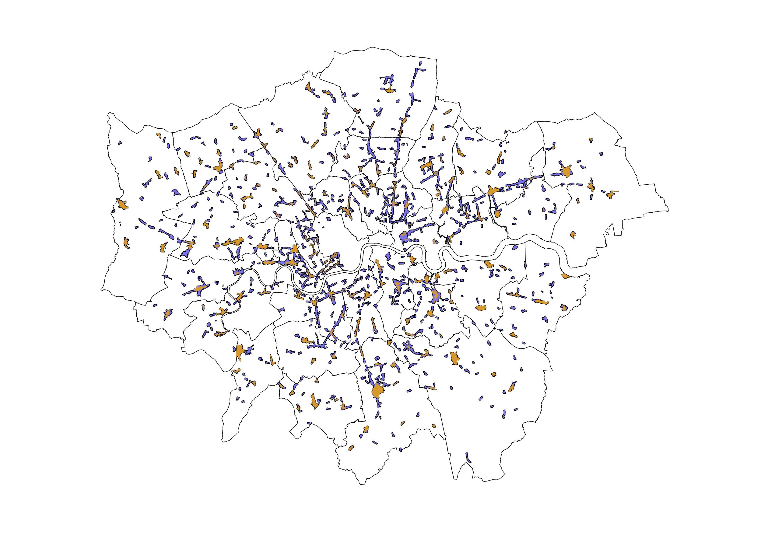 Map showing extent of London's high streets. Extracted from GLA report.